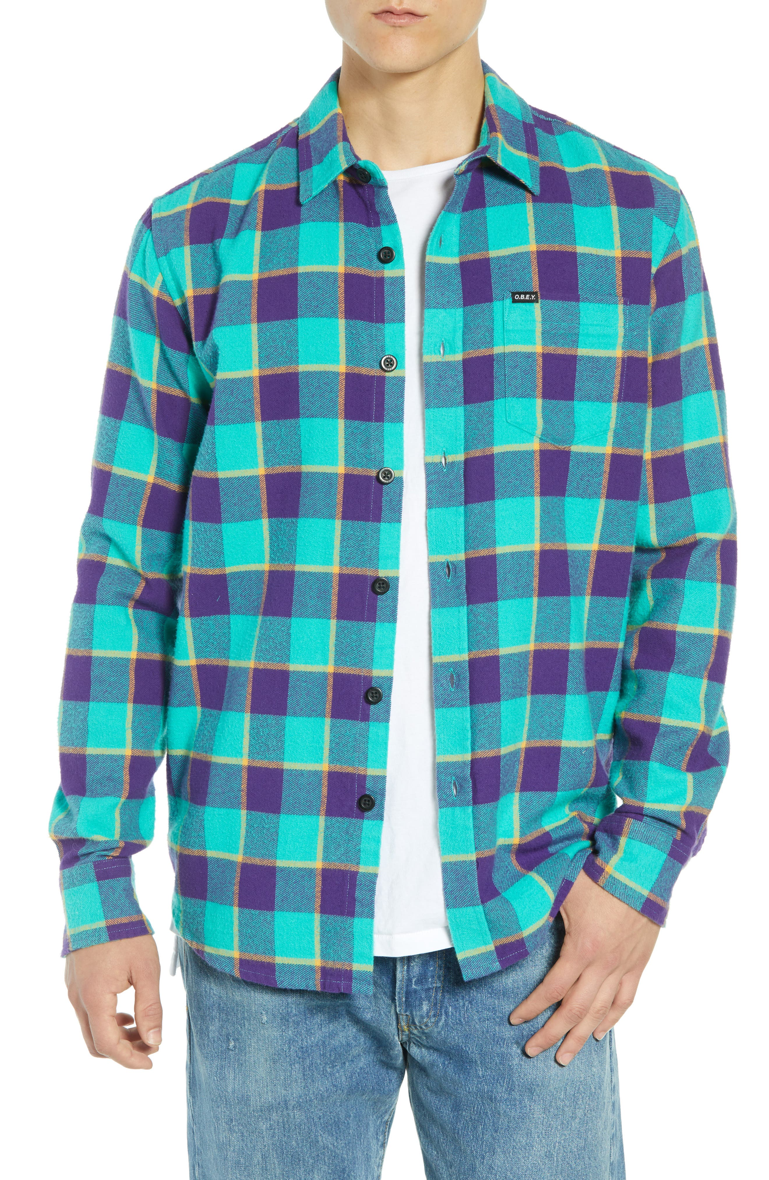 Ventura Plaid Flannel Shirt,                             Main thumbnail 1, color,                             TEAL MULTI