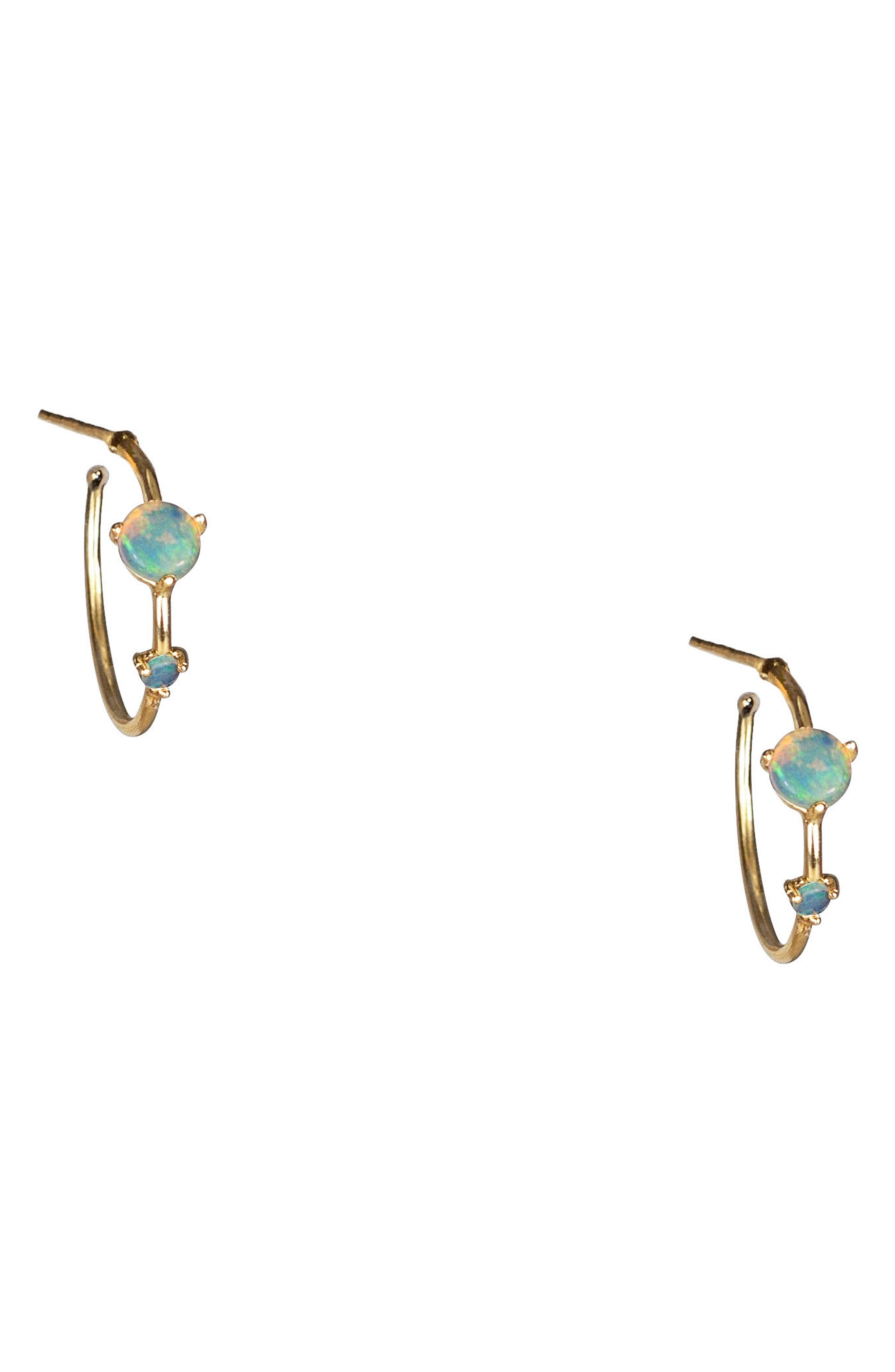 Counting Collection Small Two-Step Opal & Diamond Hoop Earrings,                             Alternate thumbnail 2, color,                             OPAL