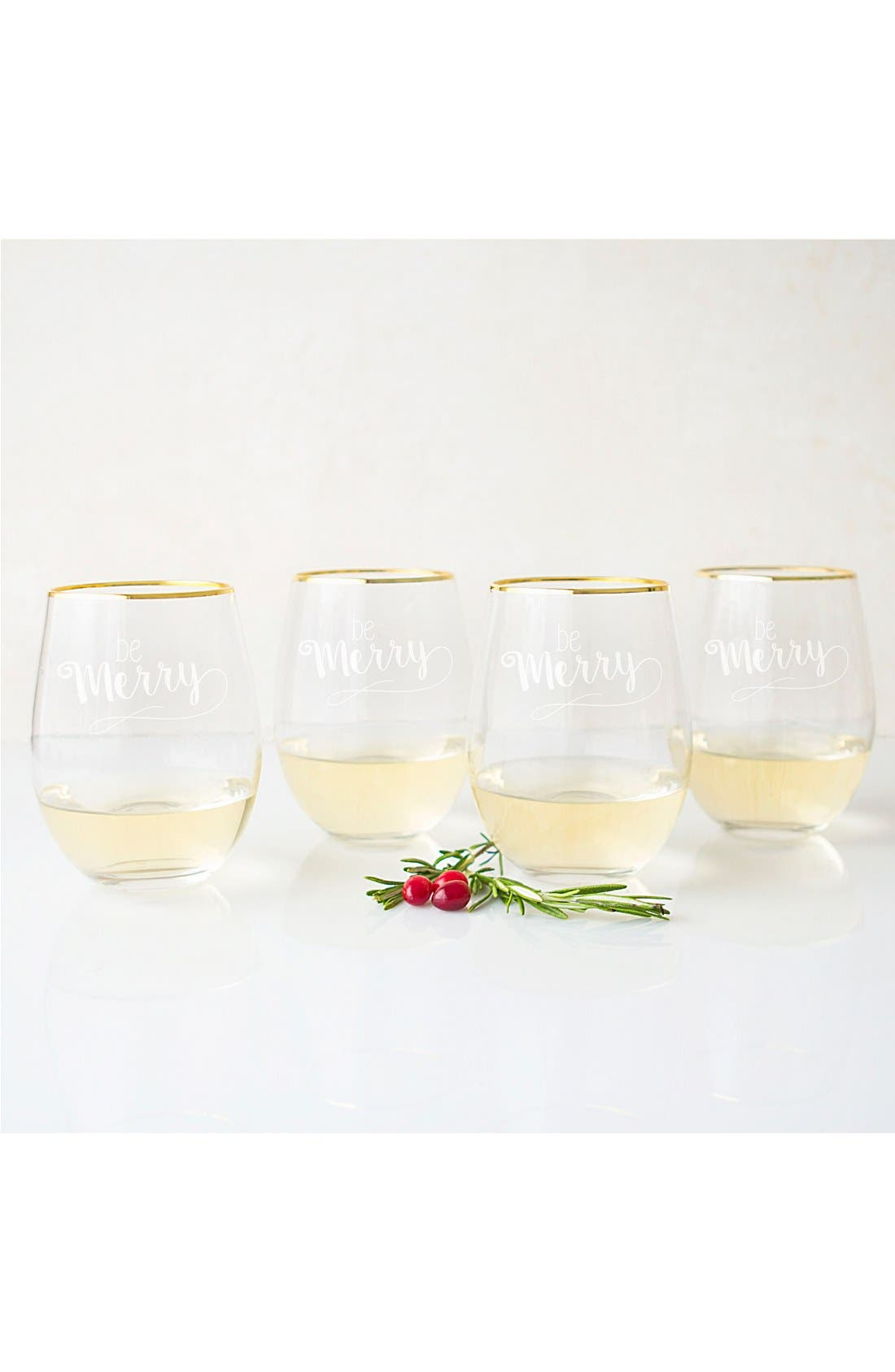 Be Merry Set of 4 Stemless Wine Glasses,                             Alternate thumbnail 3, color,                             710