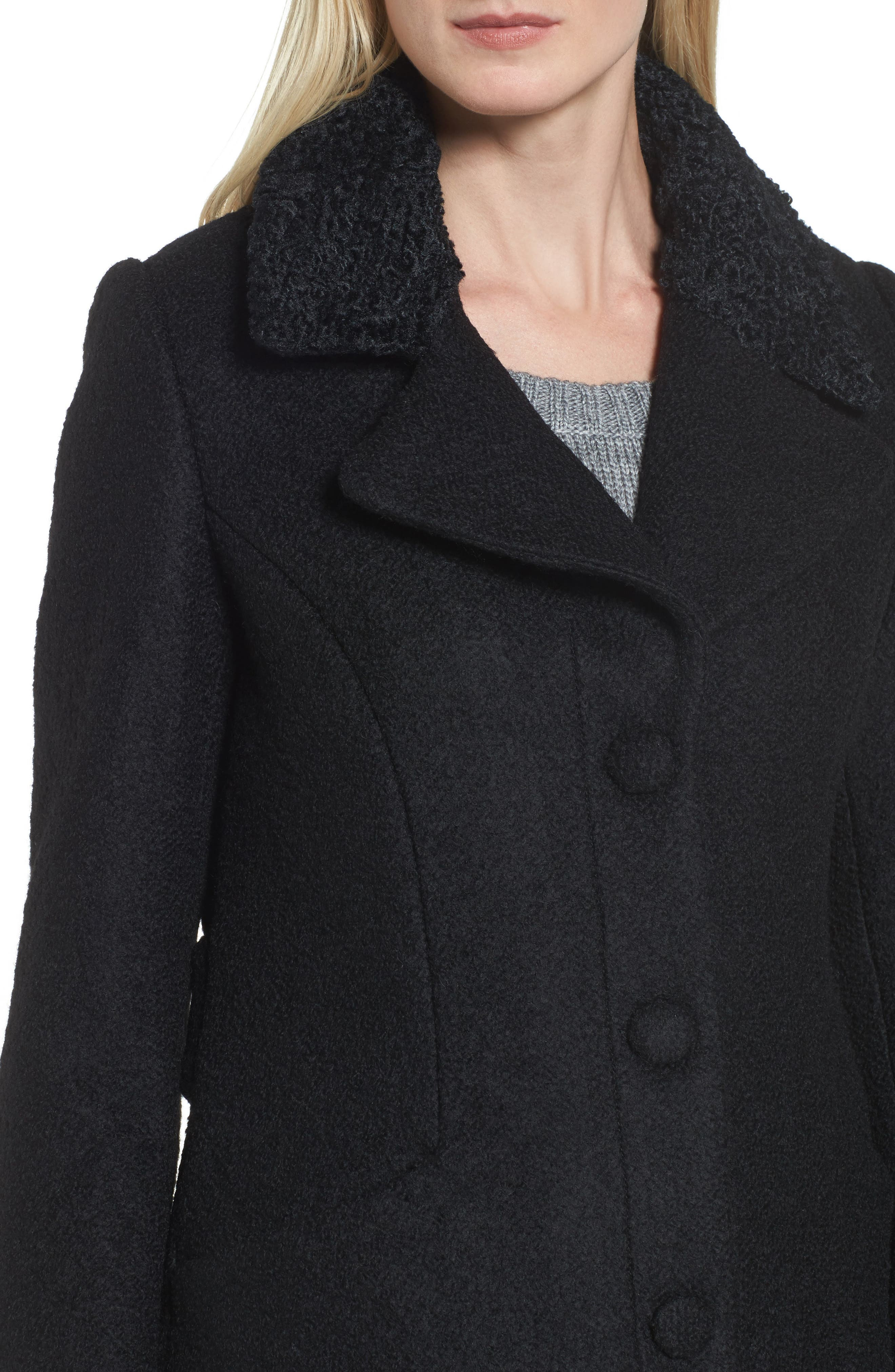 Contrast Collar Bouclé Coat,                             Alternate thumbnail 4, color,                             001