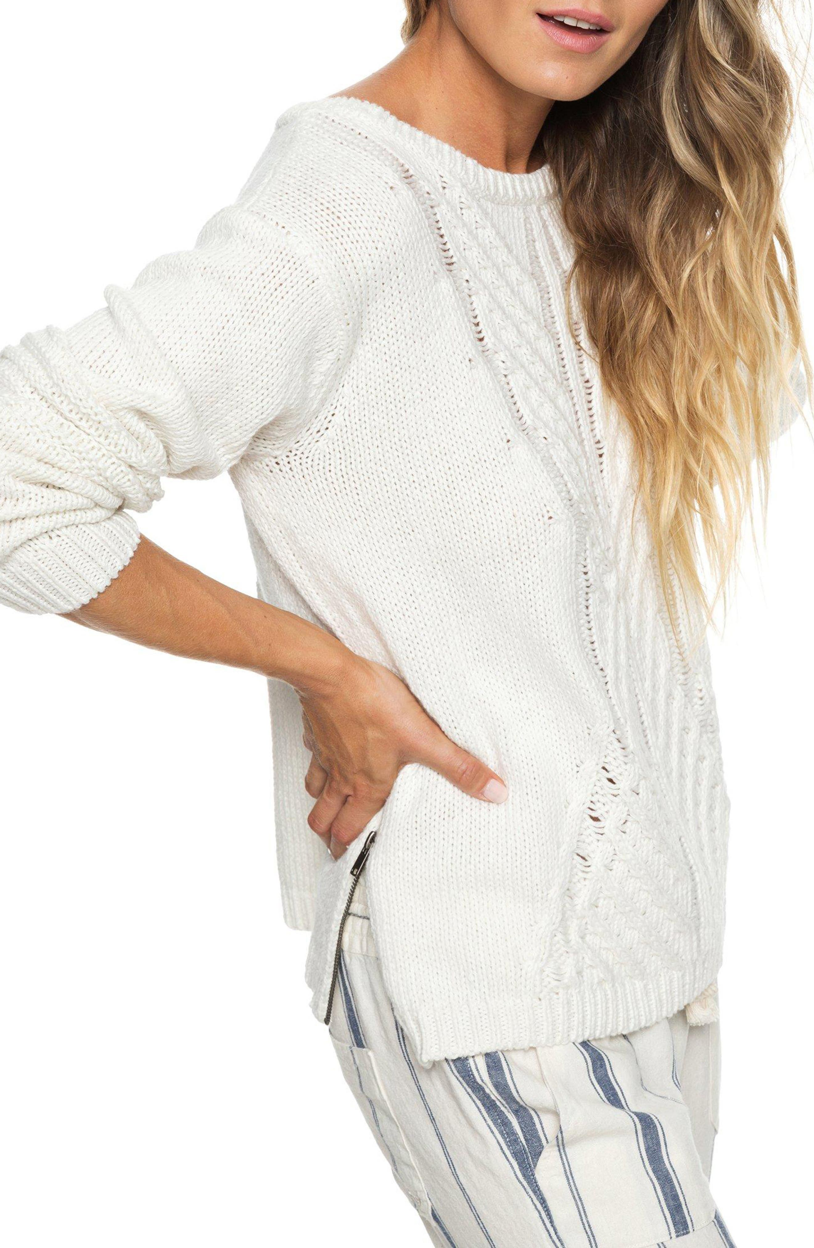 Glimpse of Romance Cable Knit Sweater,                             Alternate thumbnail 3, color,                             MARSHMALLOW