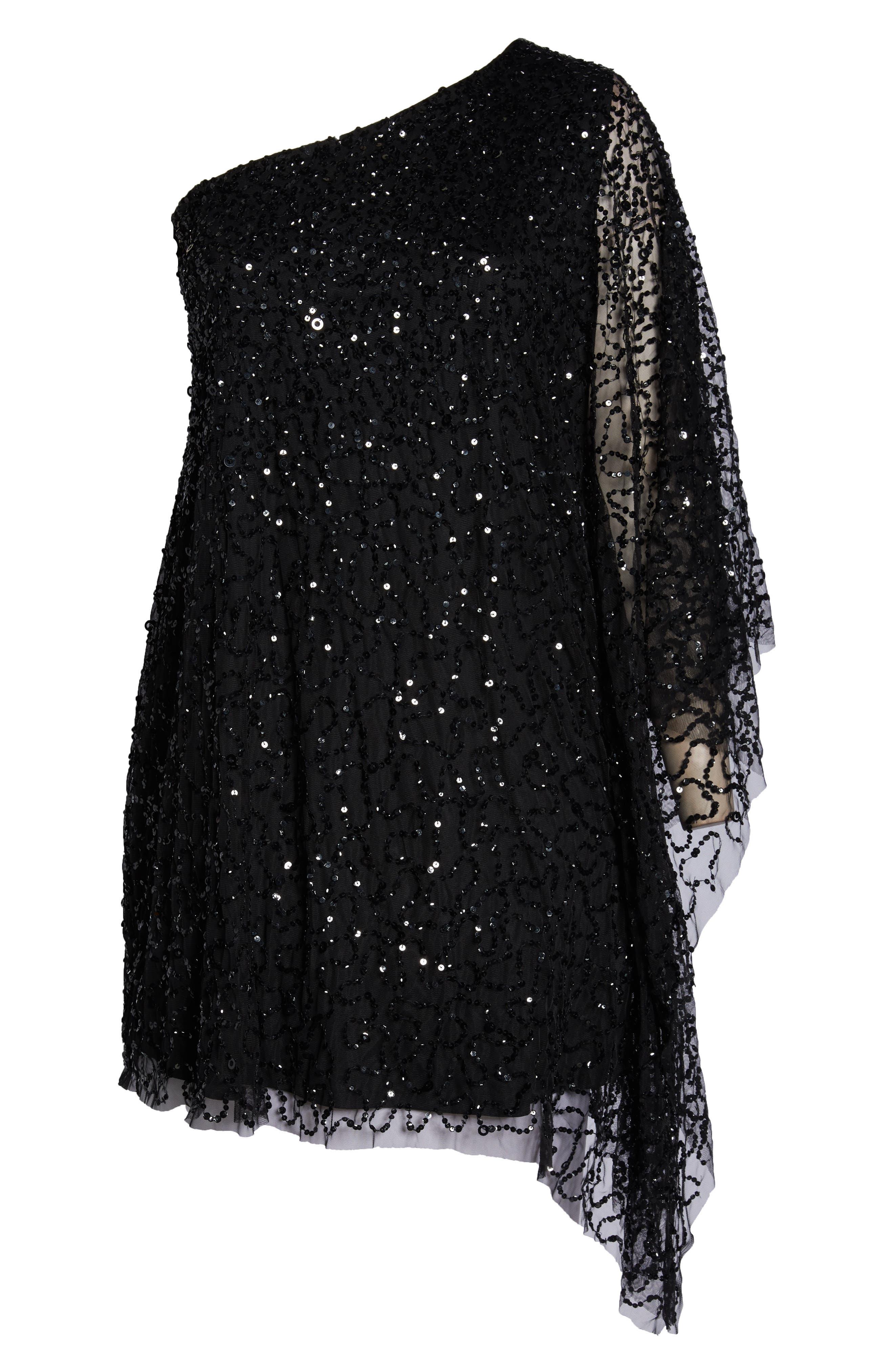 Beaded One-Shoulder Sheath Dress,                             Alternate thumbnail 7, color,                             BLACK