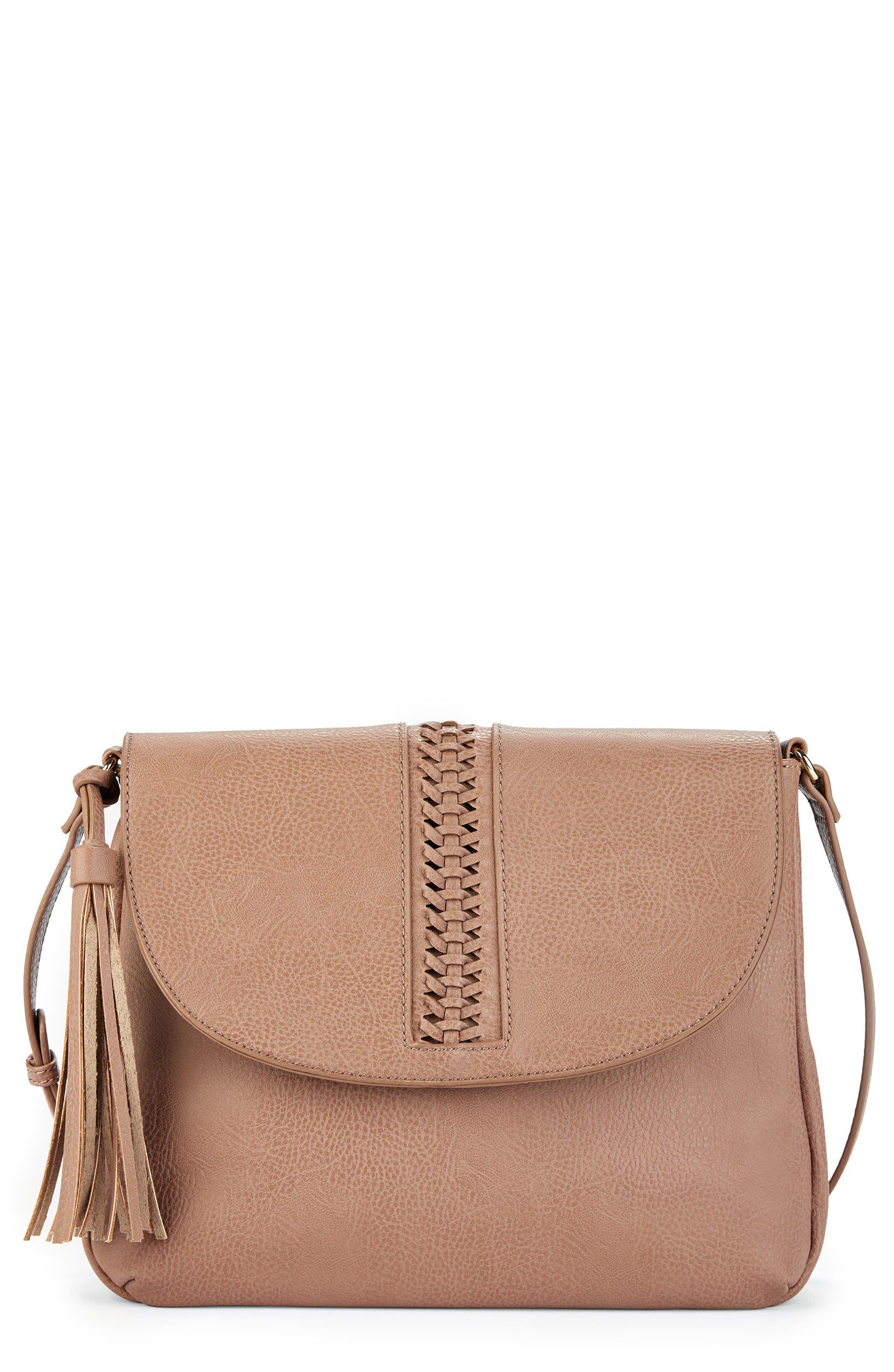 Tara Stitch Detail Faux Leather Crossbody Bag,                         Main,                         color, 020