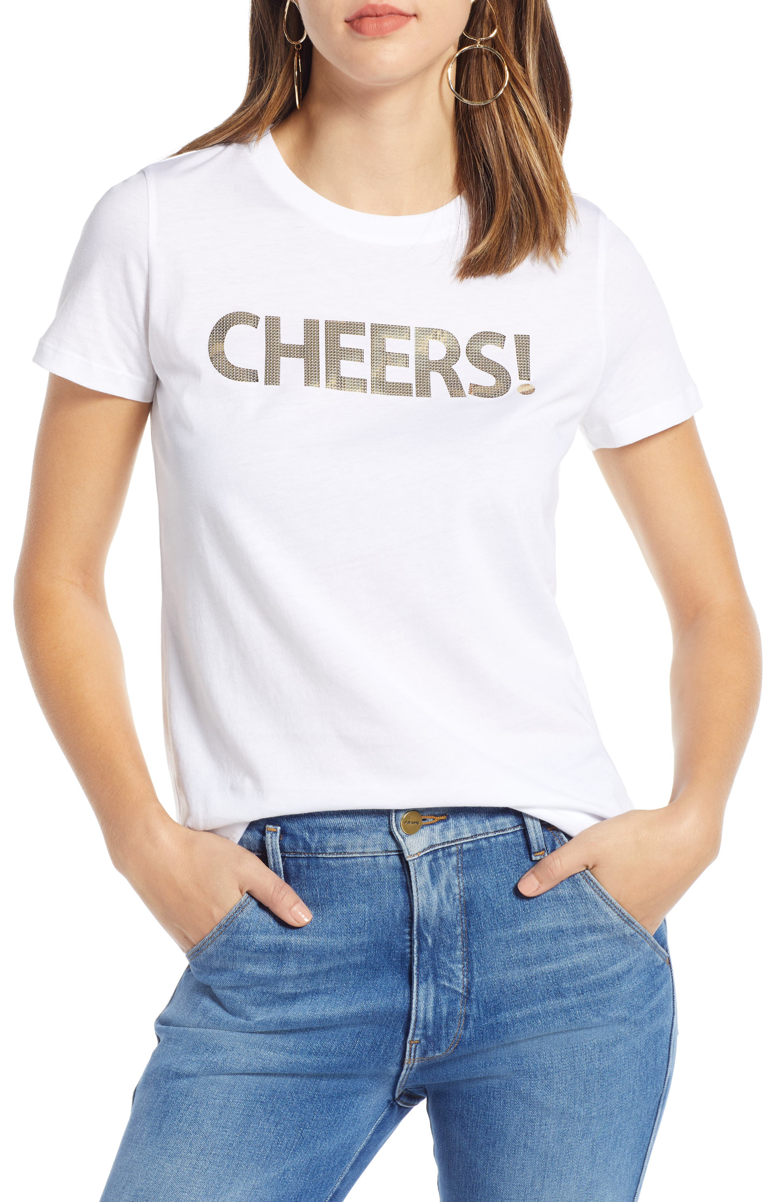 Short Sleeve Graphic Tee,                             Main thumbnail 1, color,                             WHITE- GOLD CHEERS