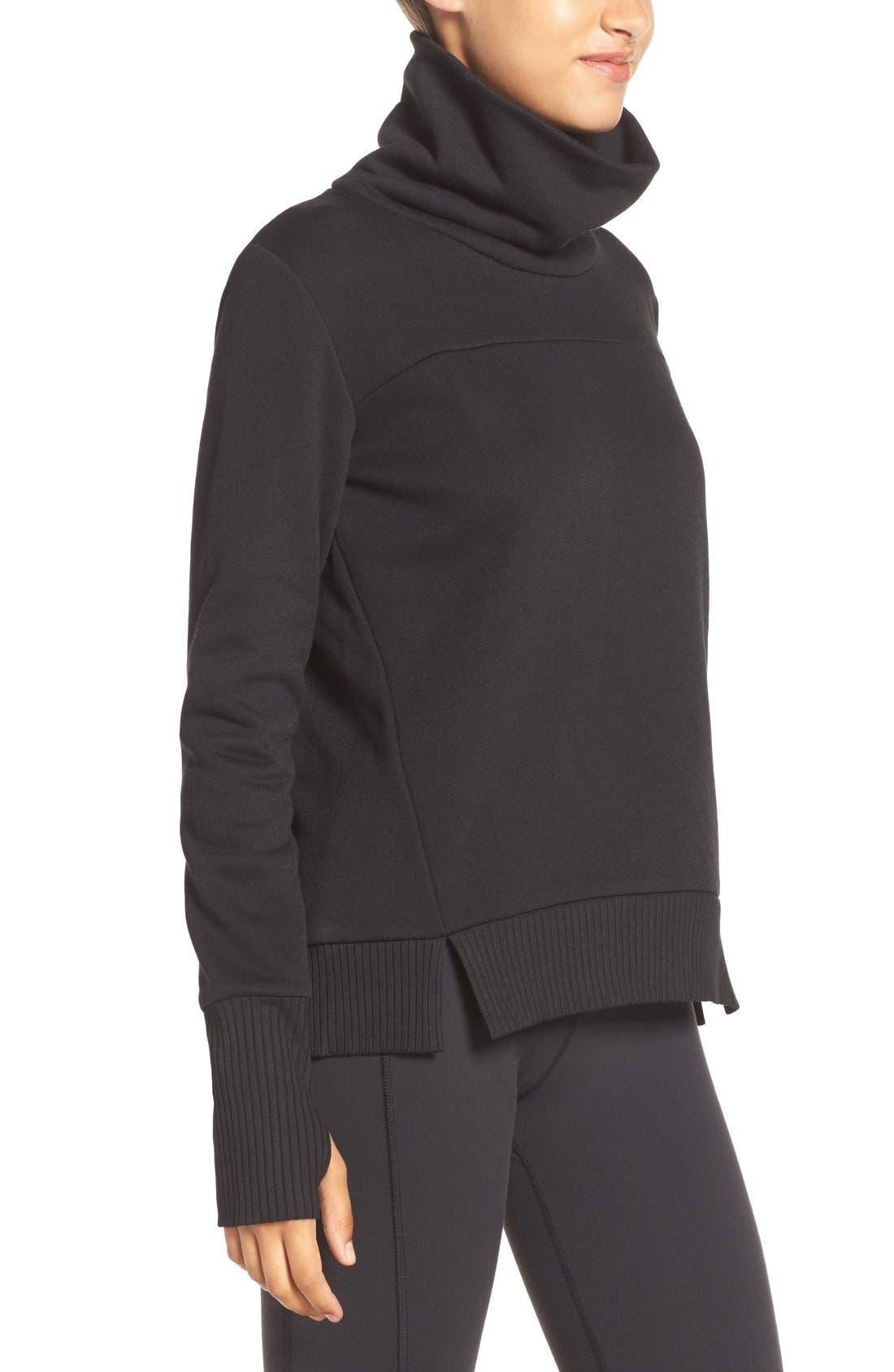 'Haze' Funnel Neck Sweatshirt,                             Alternate thumbnail 6, color,                             BLACK