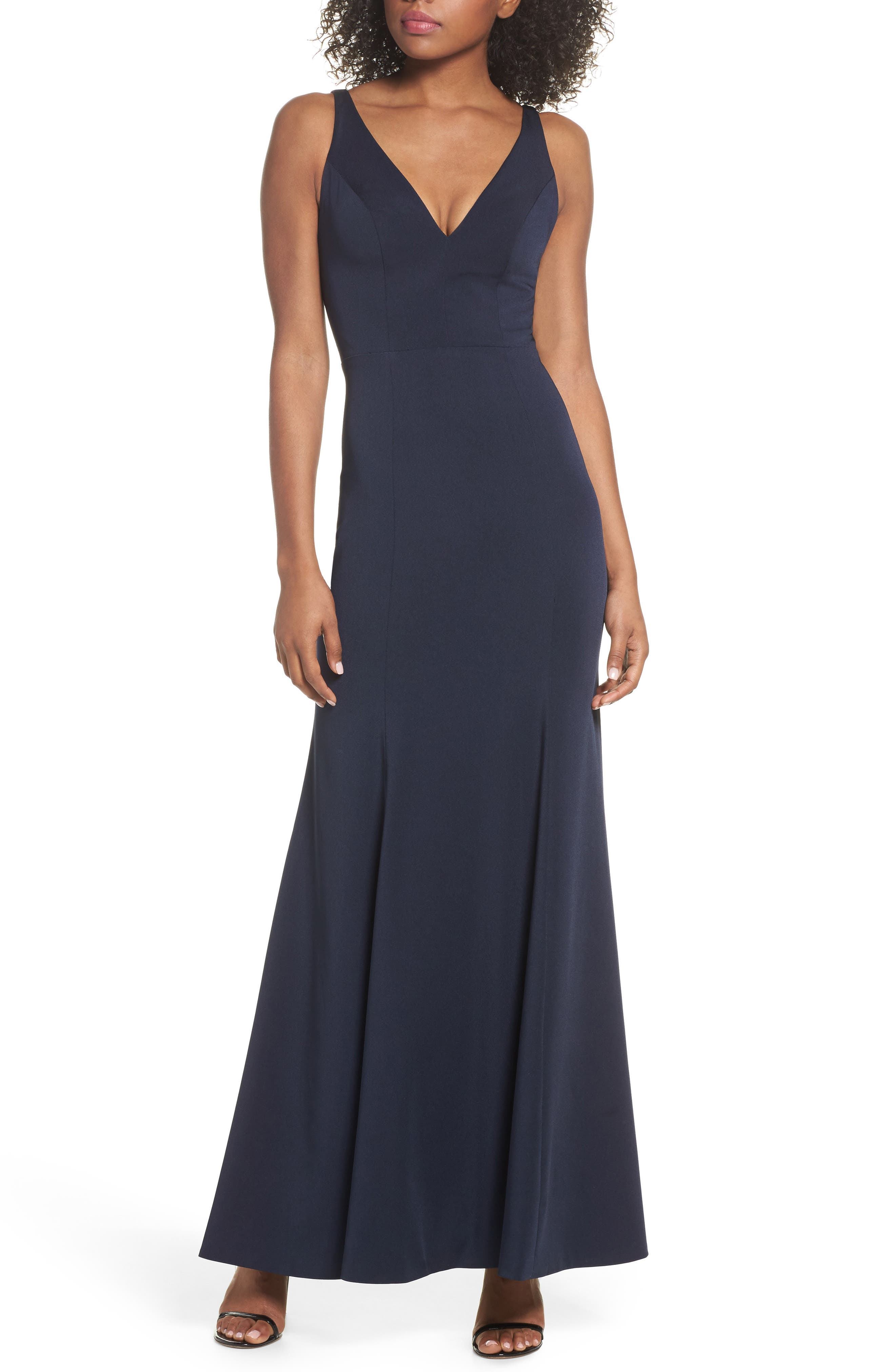 Jade Luxe Crepe V-Neck Gown,                             Main thumbnail 1, color,                             MIDNIGHT