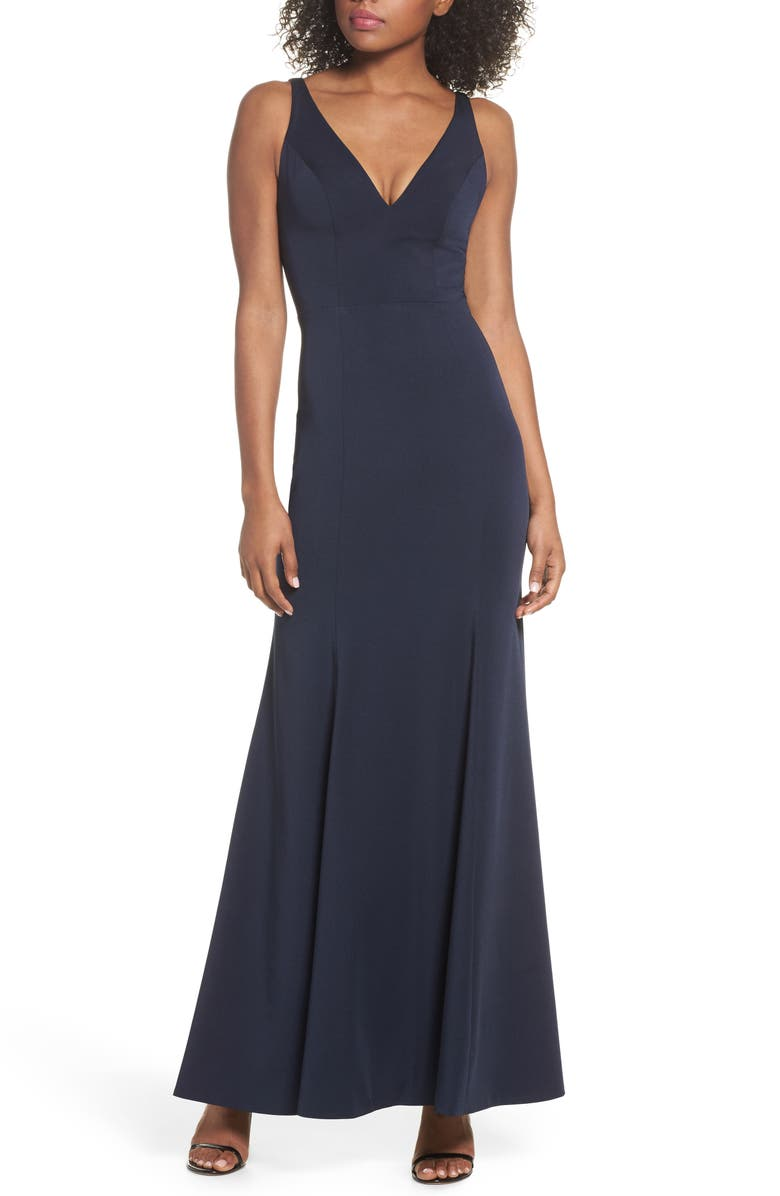 Jenny Yoo Jade Luxe Crepe V-Neck Gown   Nordstrom