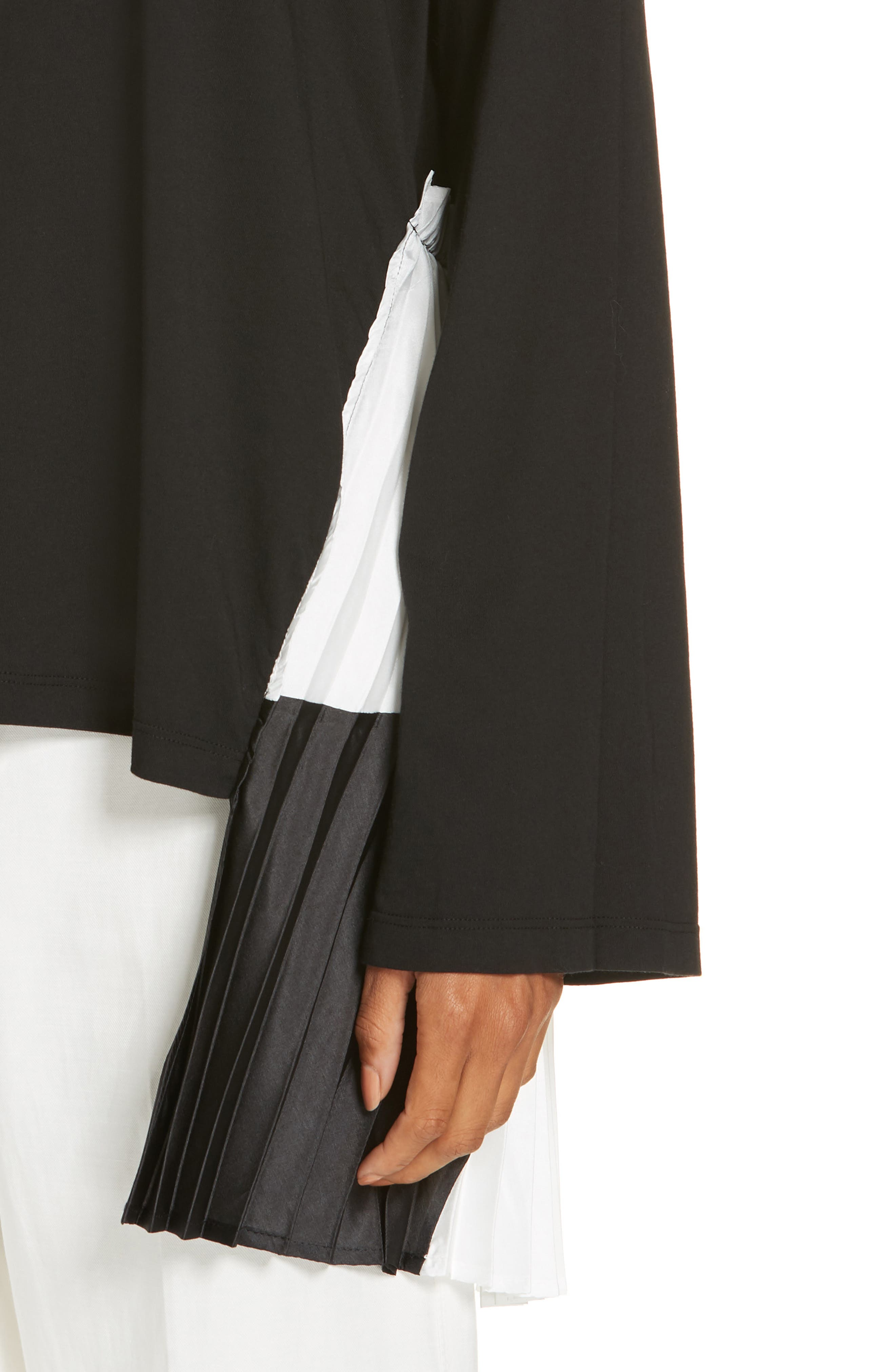 Pleat Accent Crewneck Long Sleeve Top,                             Alternate thumbnail 4, color,                             BLACK/ BLACK/ WHITE