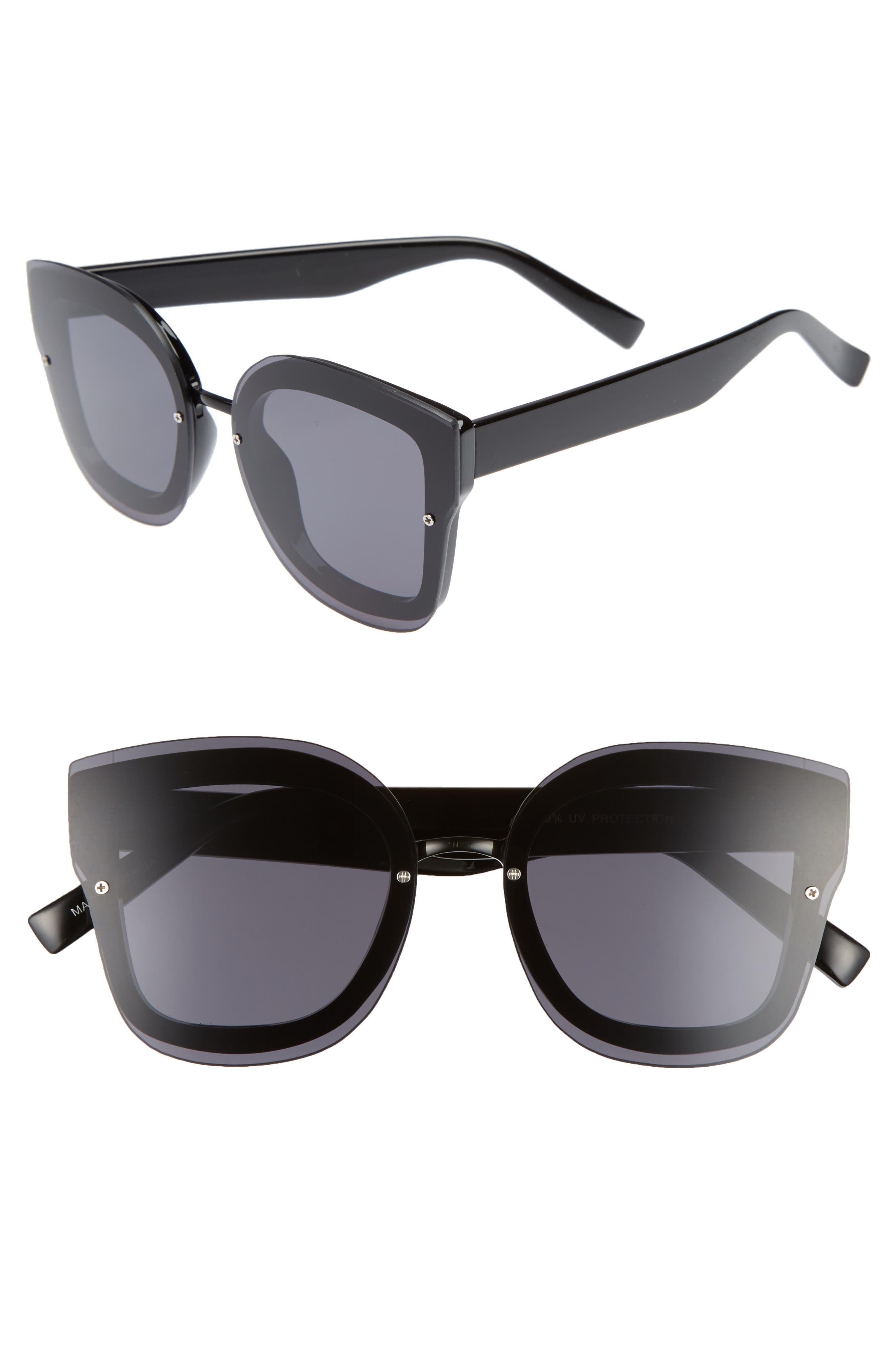 50mm Squared-Off Sunglasses,                         Main,                         color, 001