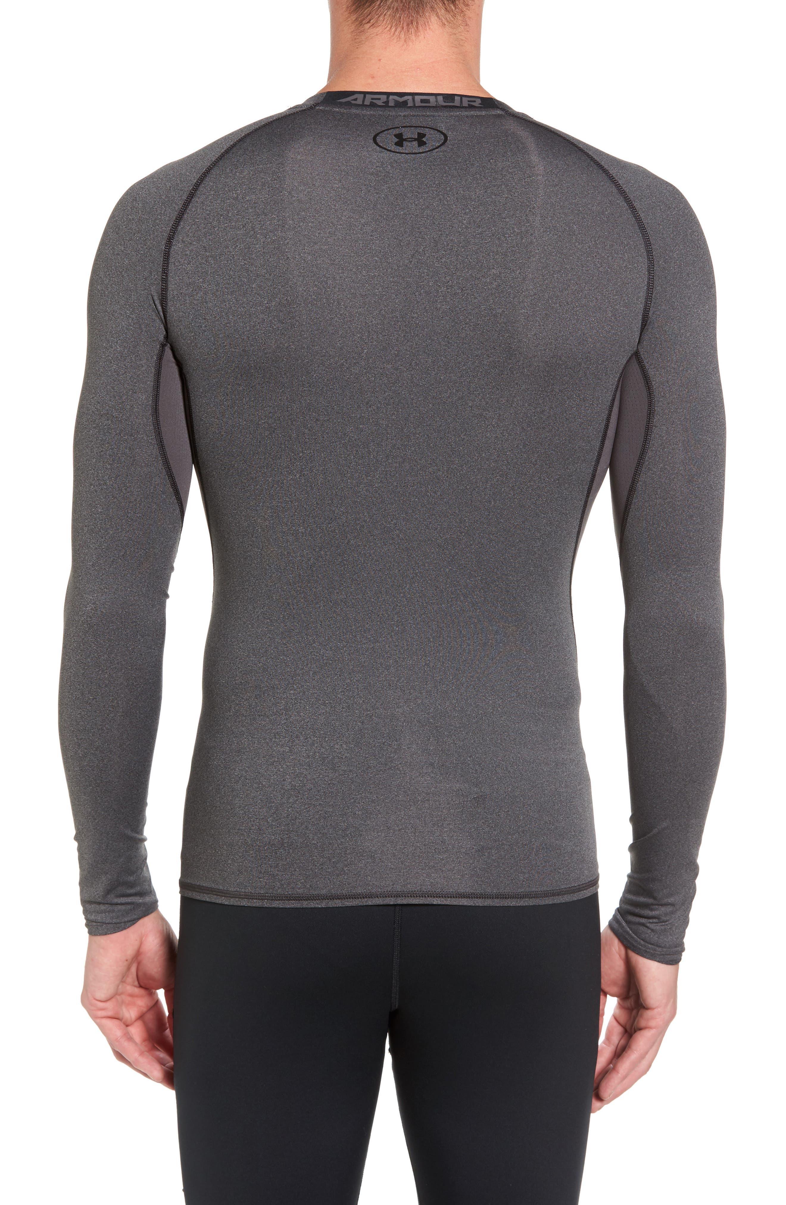 HeatGear<sup>®</sup> Compression Fit Long Sleeve T-Shirt,                             Alternate thumbnail 2, color,                             CARBON HEATHER/ BLACK