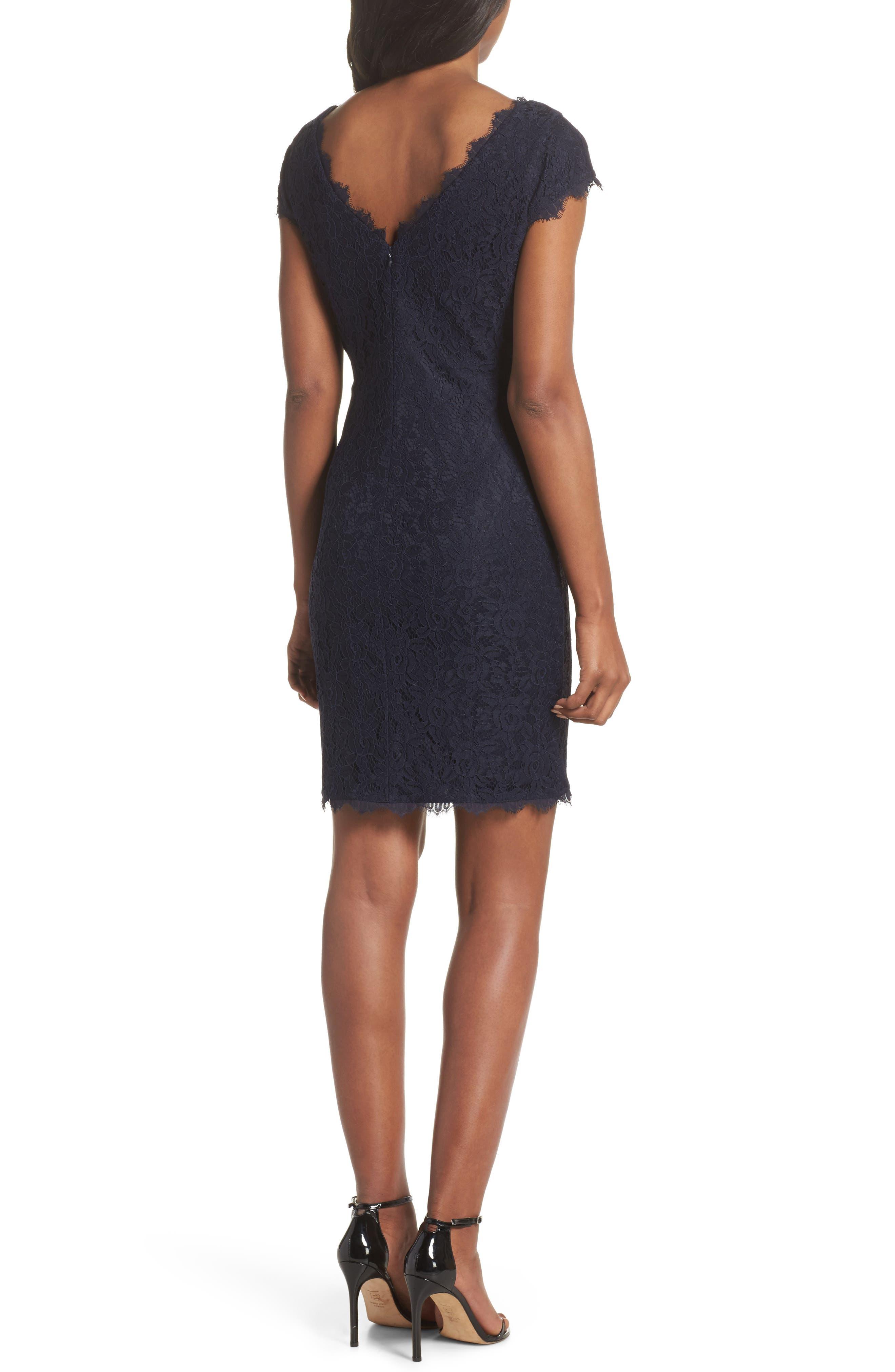 Cap Sleeve Lace Sheath Dress,                             Alternate thumbnail 2, color,                             NAVY