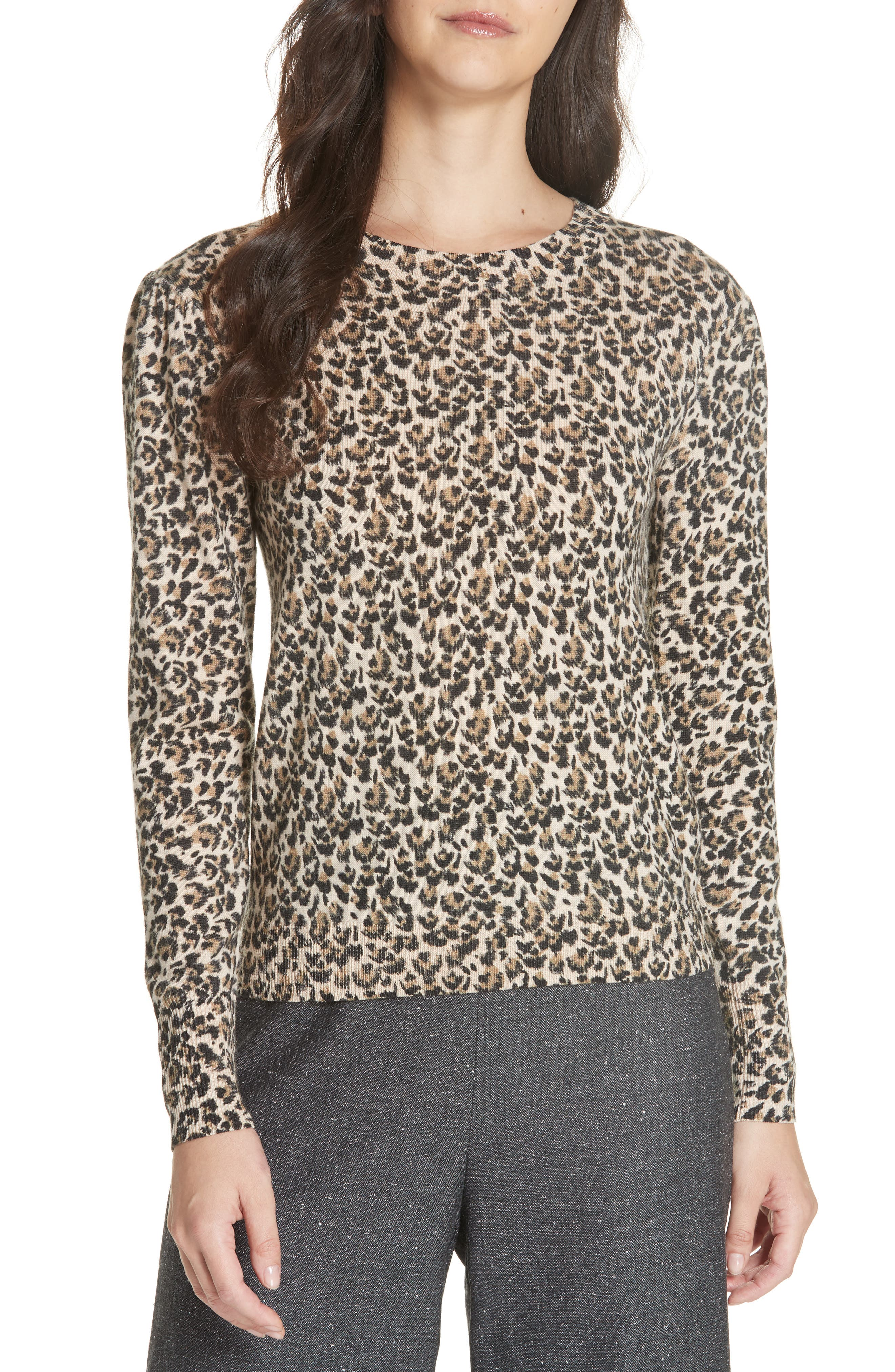 Leopard Print Wool Sweater,                         Main,                         color, 250