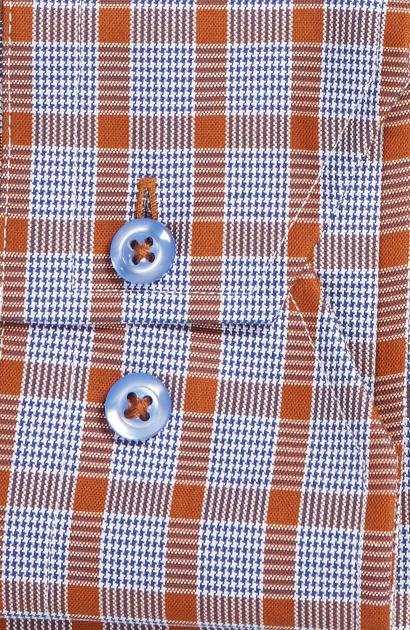 Trim Fit Plaid Dress Shirt,                             Alternate thumbnail 6, color,                             430