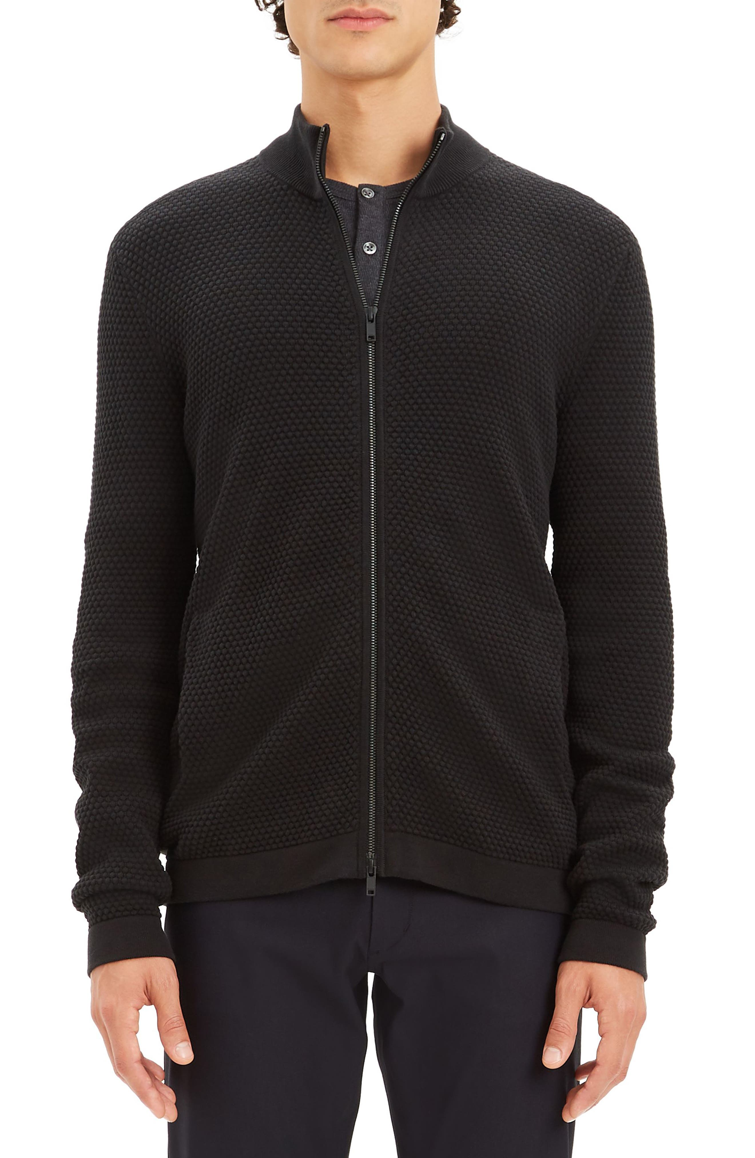 Udeval Breach Regular Fit Zip Sweater,                         Main,                         color, BLACK