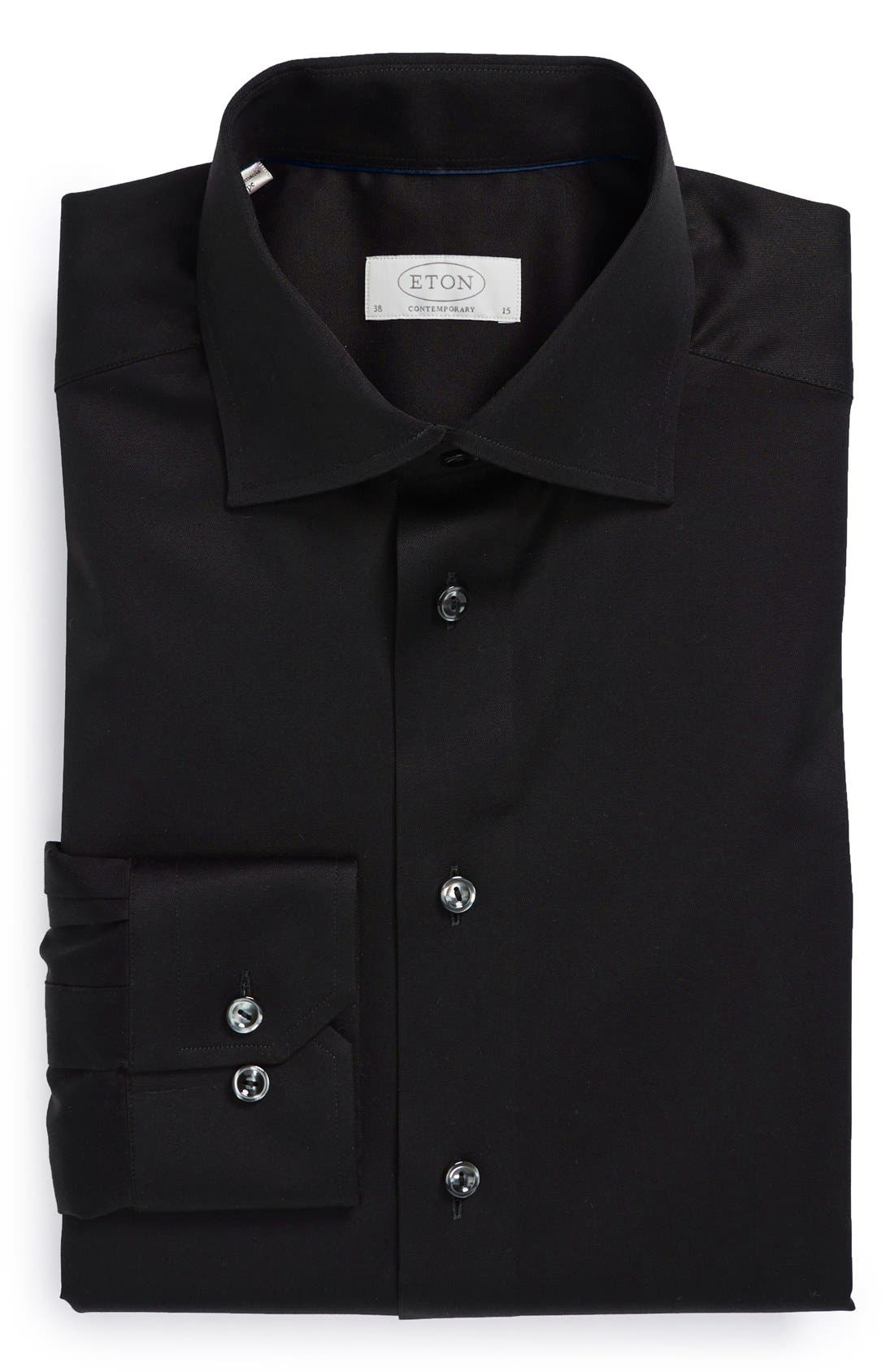 Contemporary Fit Twill Dress Shirt, Main, color, BLACK