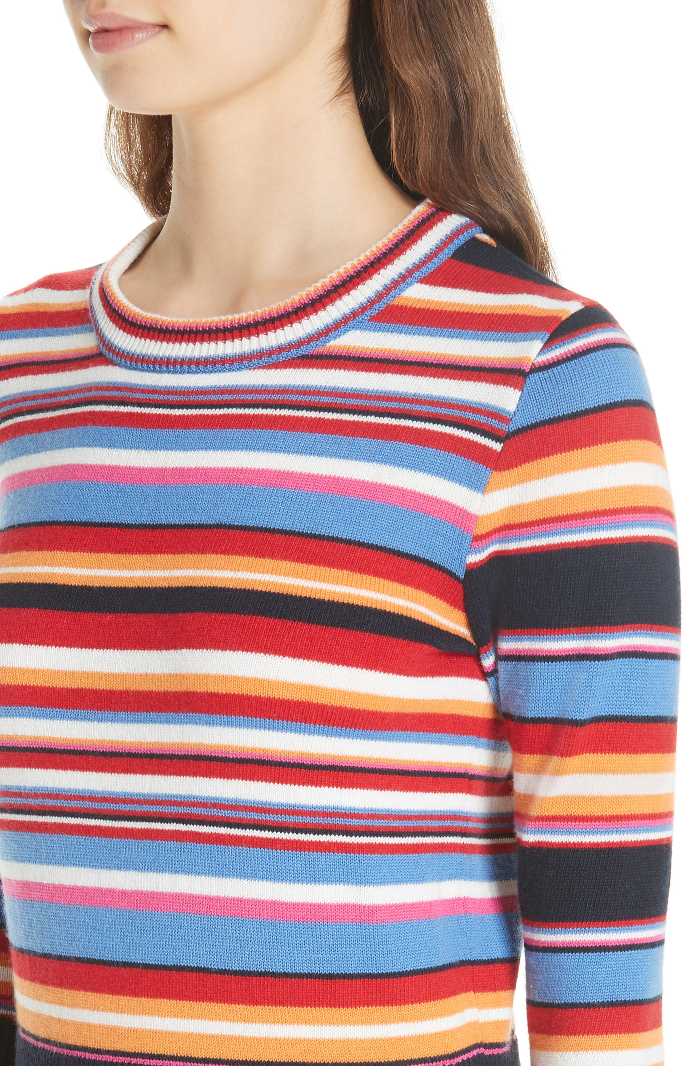 Kit Stripe Scoop Neck Sweater,                             Alternate thumbnail 4, color,                             TORY NAY