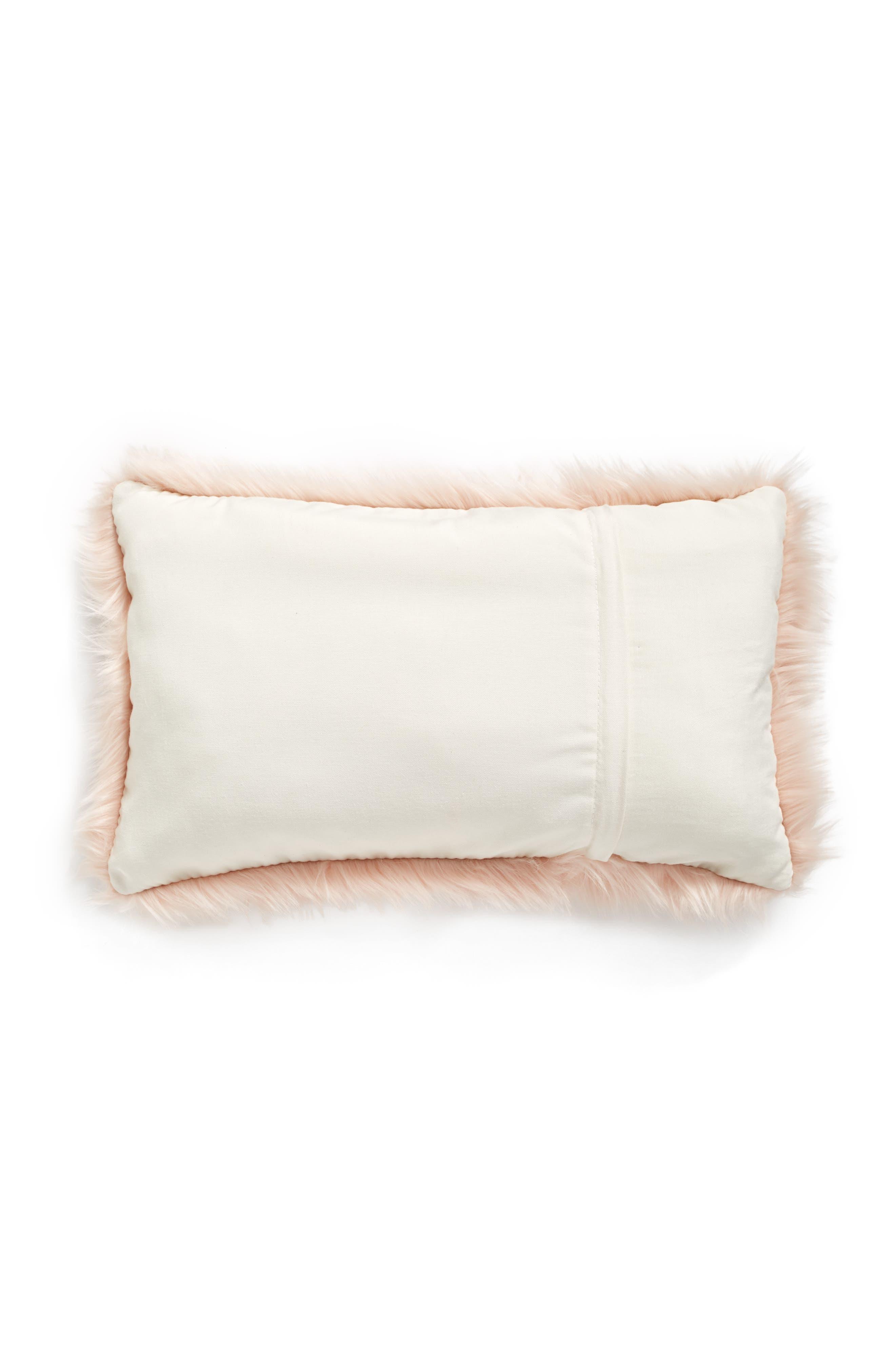 'Sumptuous' Faux Fur Accent Pillow,                             Alternate thumbnail 3, color,                             ROSE