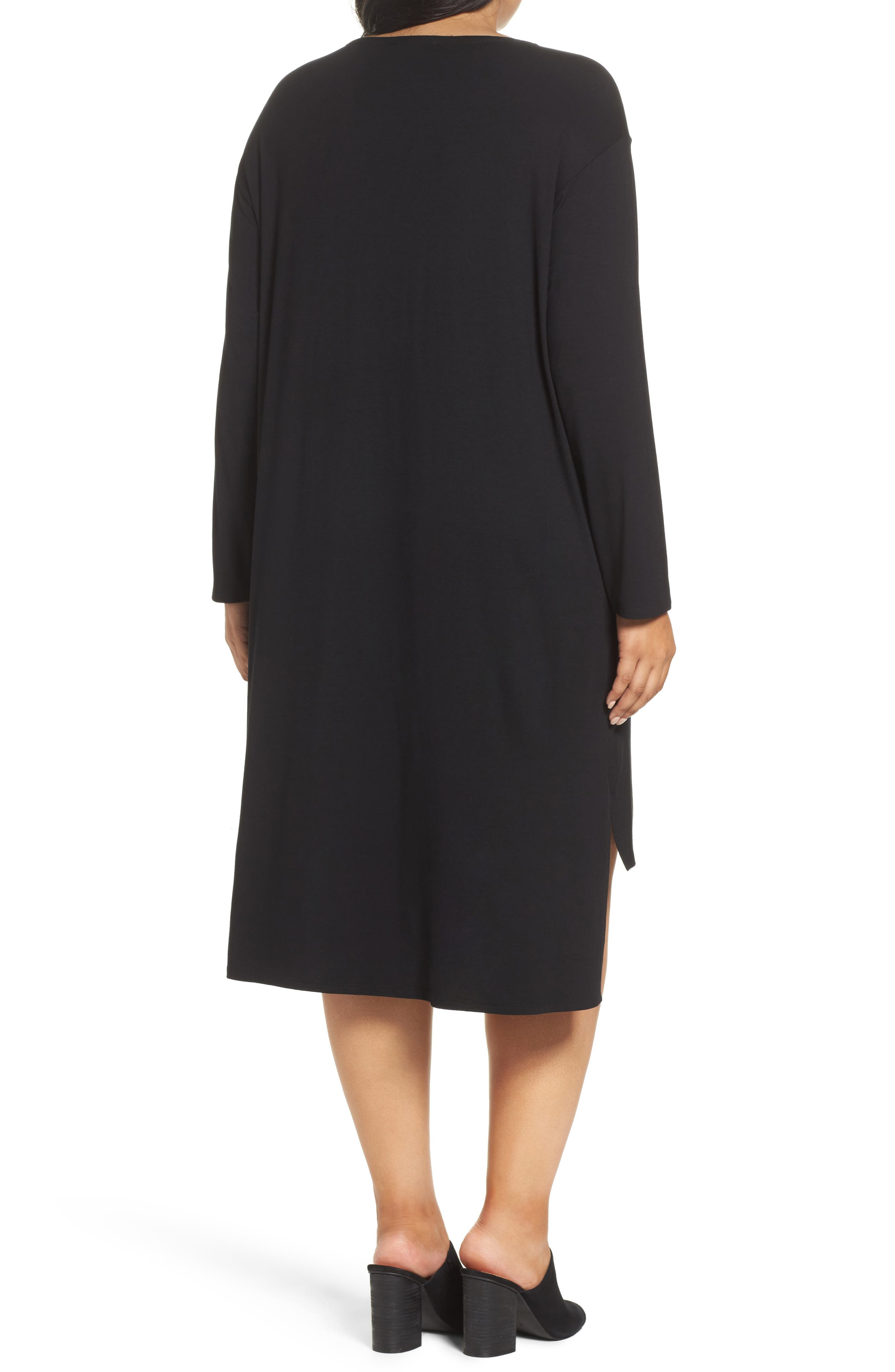 High/Low Jersey Shift Dress,                             Alternate thumbnail 2, color,                             001