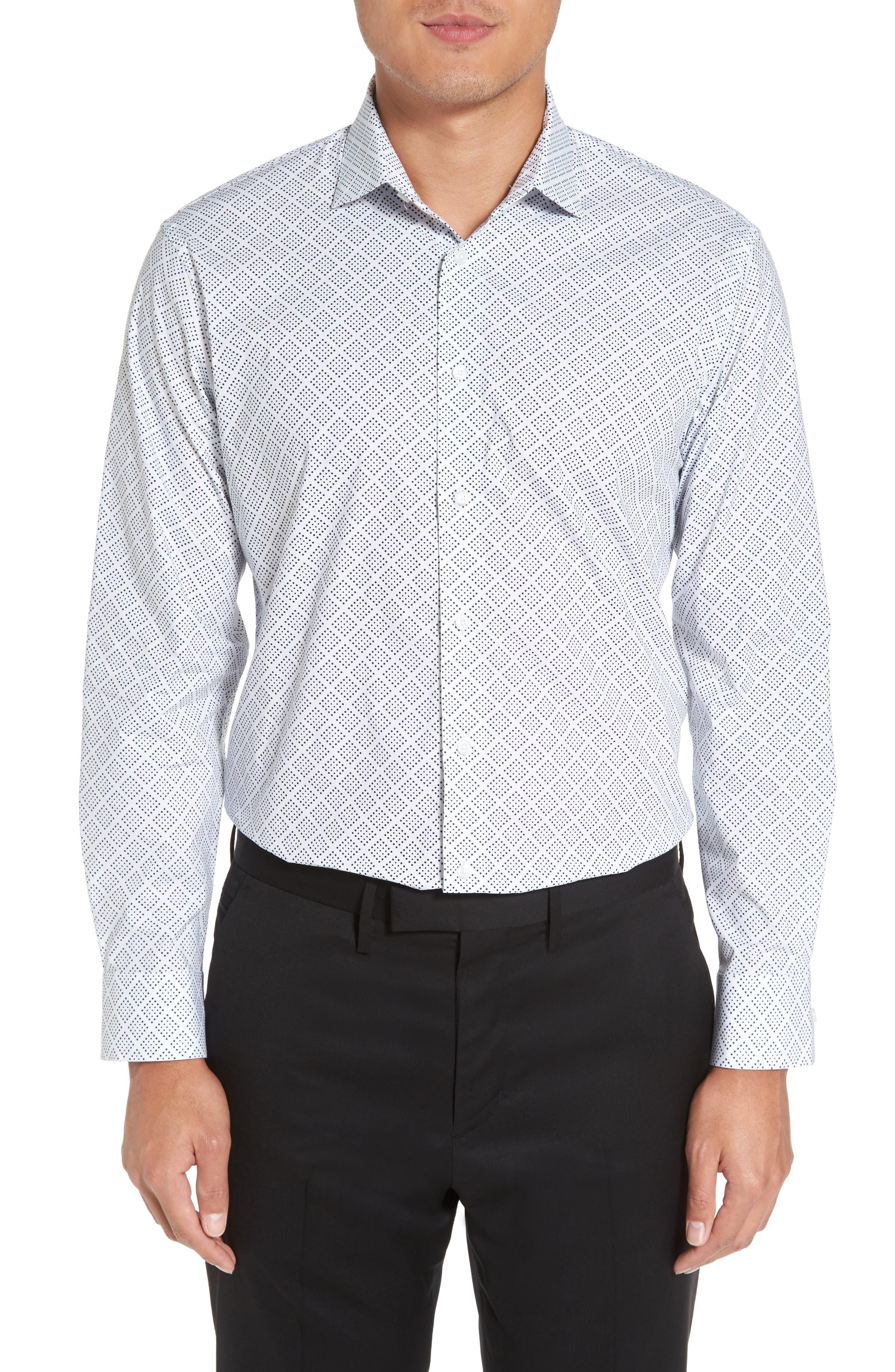 Trim Fit Non-Iron Graphic Stretch Dress Shirt,                             Main thumbnail 1, color,                             410