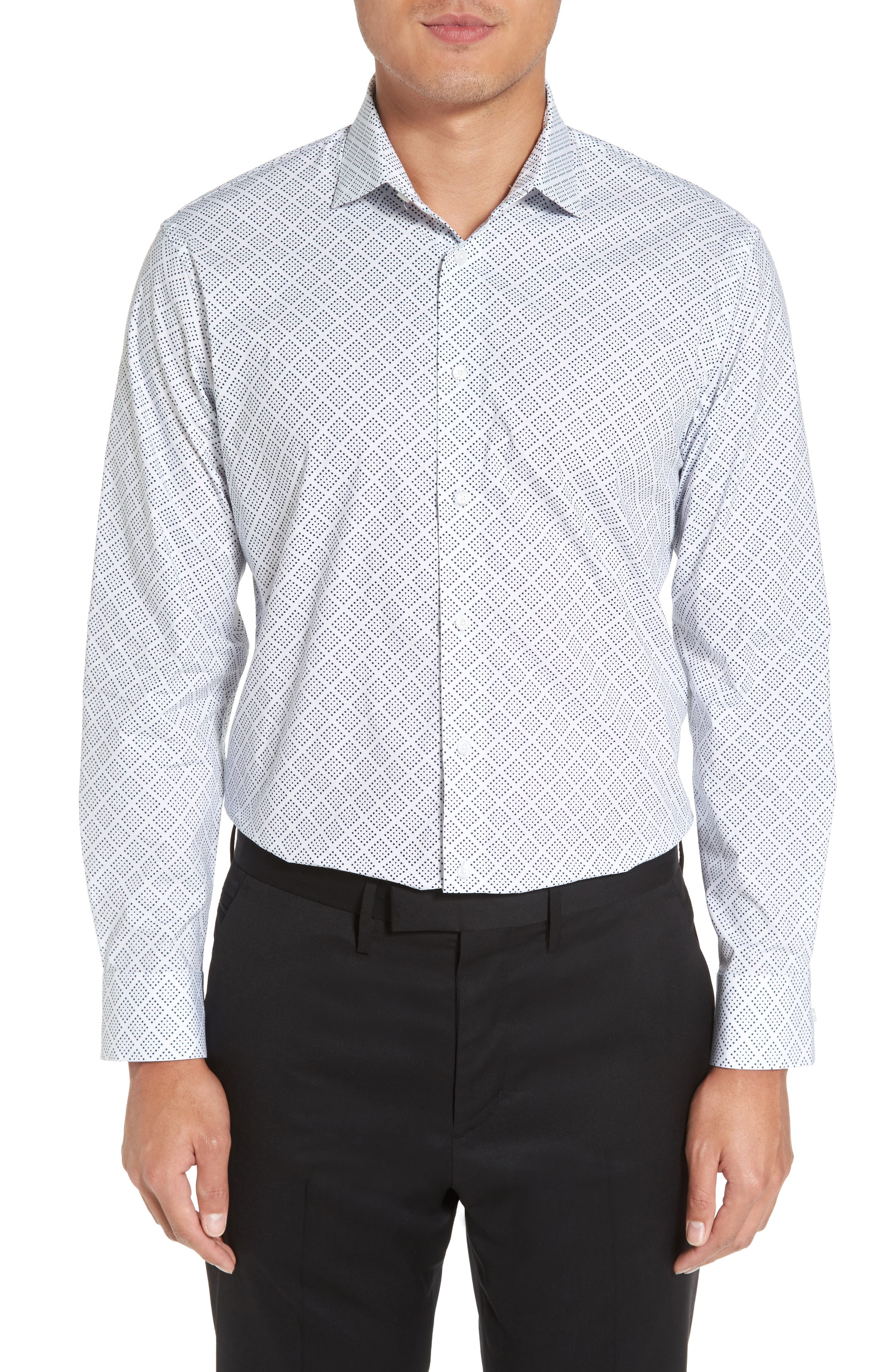 Trim Fit Non-Iron Graphic Stretch Dress Shirt,                         Main,                         color, 410
