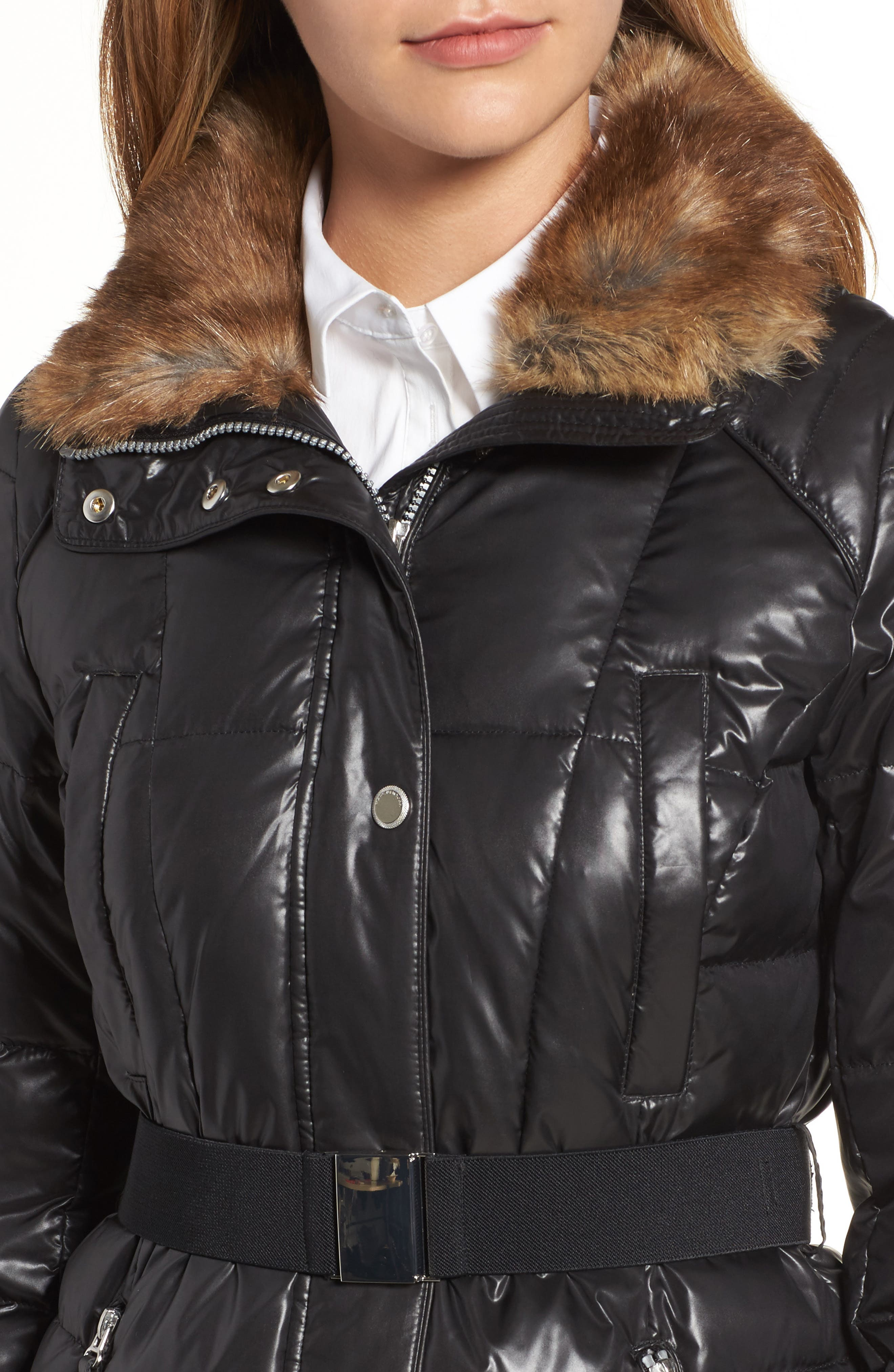 Lacquer Down Puffer Jacket with Faux Fur Hood,                             Alternate thumbnail 4, color,                             001