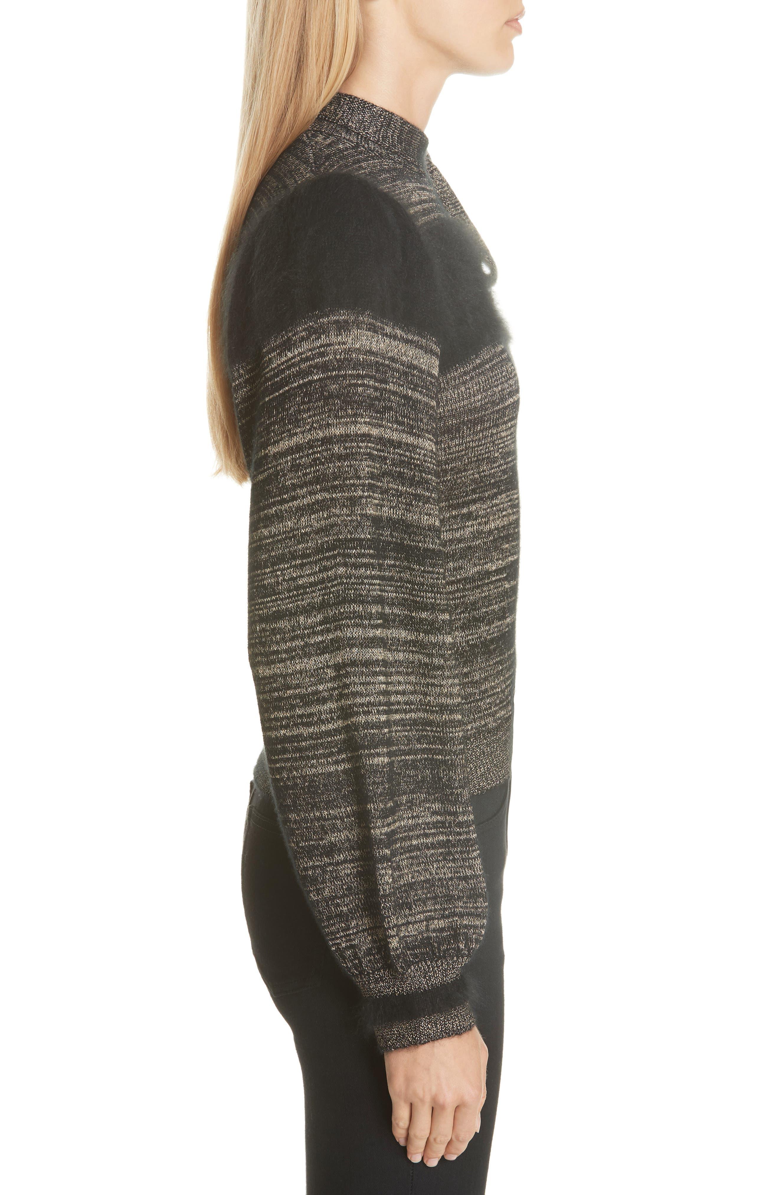 Fabia Tie Neck Cashmere Blend Sweater,                             Alternate thumbnail 3, color,                             NOIR