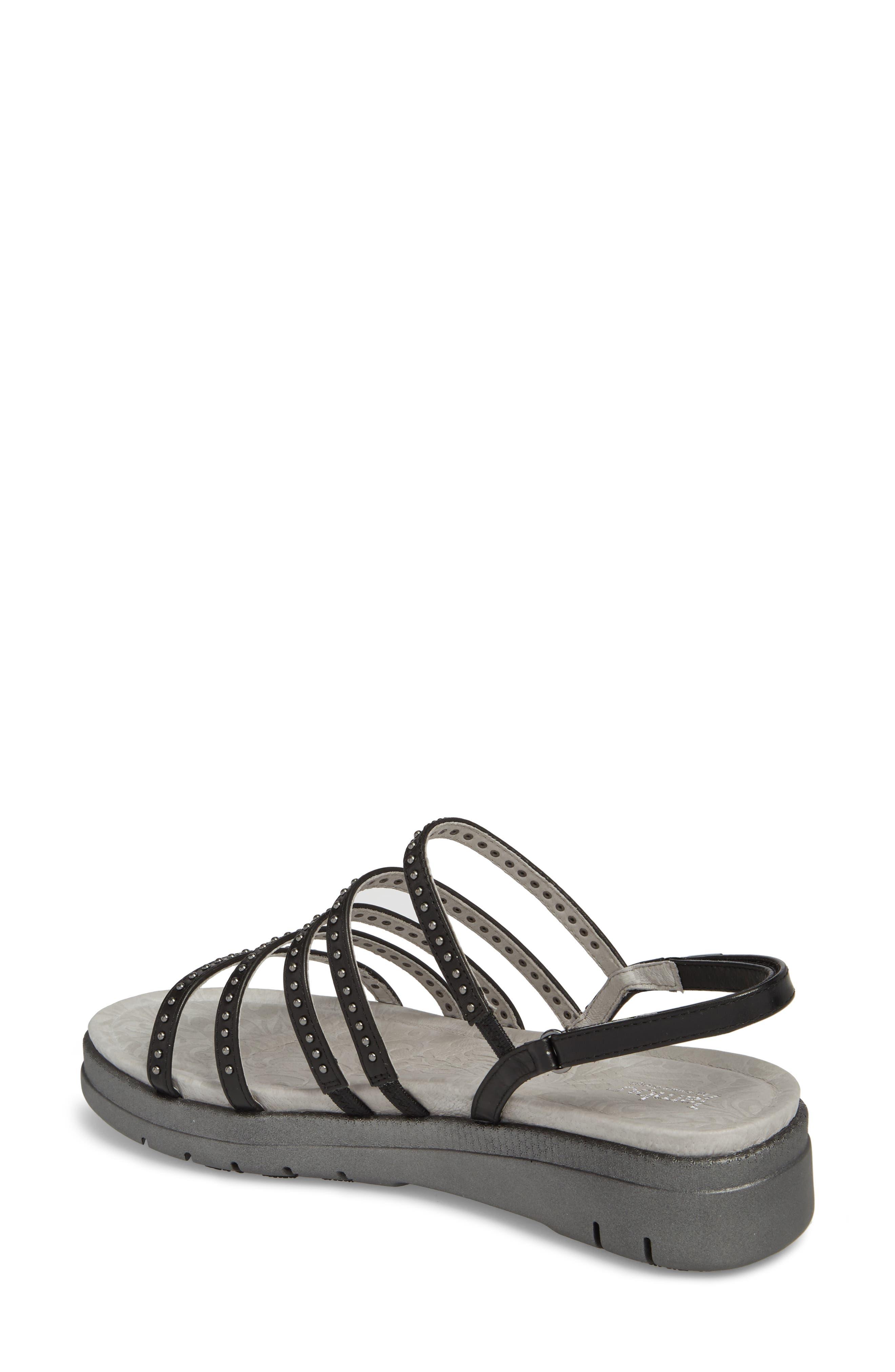 Elegance Studded Strappy Sandal,                             Alternate thumbnail 2, color,                             BLACK LEATHER