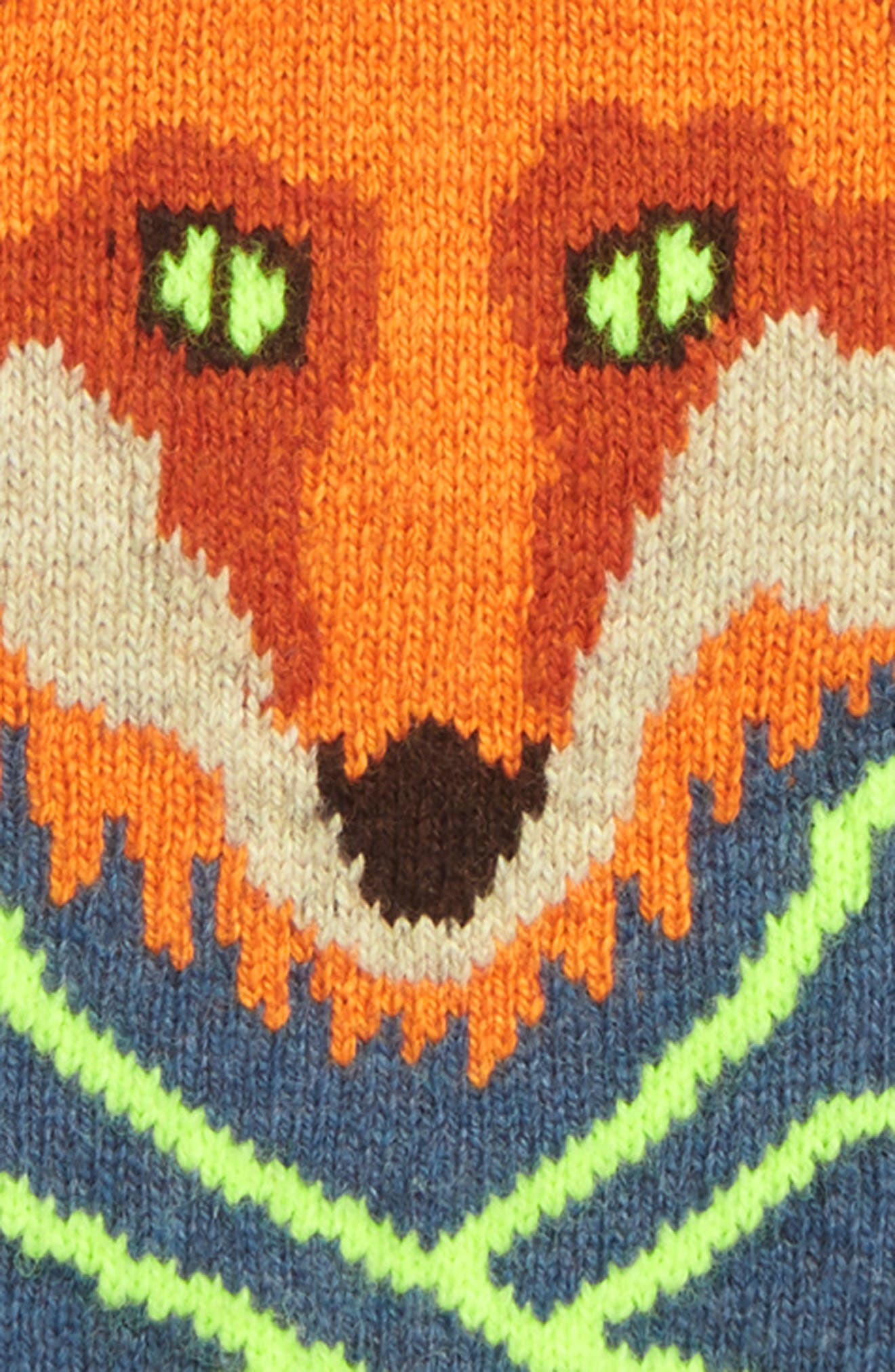 Intarsia Fox Sweater,                             Alternate thumbnail 2, color,                             BLUE MARL