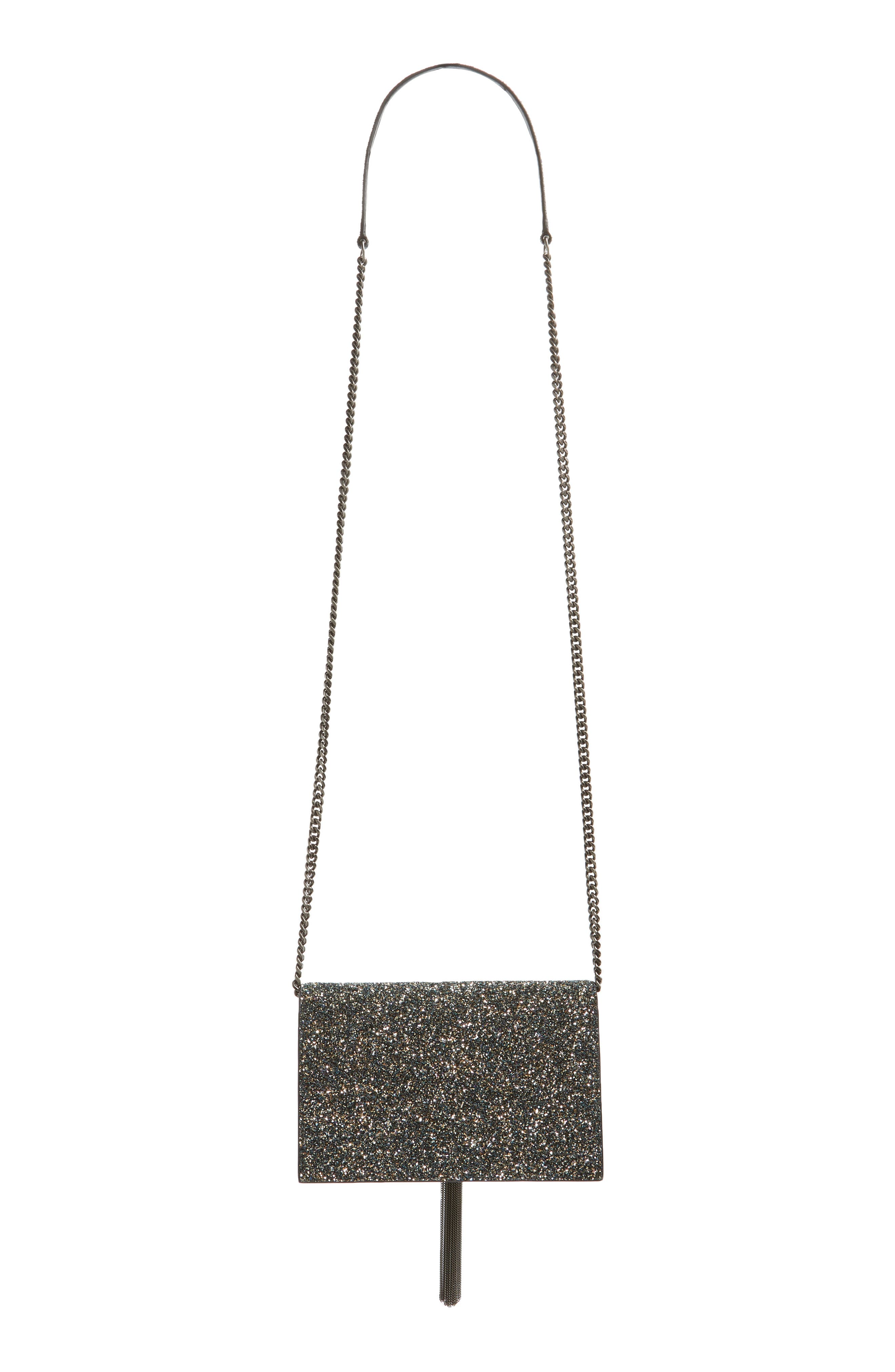 Kate Glitter Wallet on a Chain,                             Alternate thumbnail 4, color,                             OLIVE/ NERO