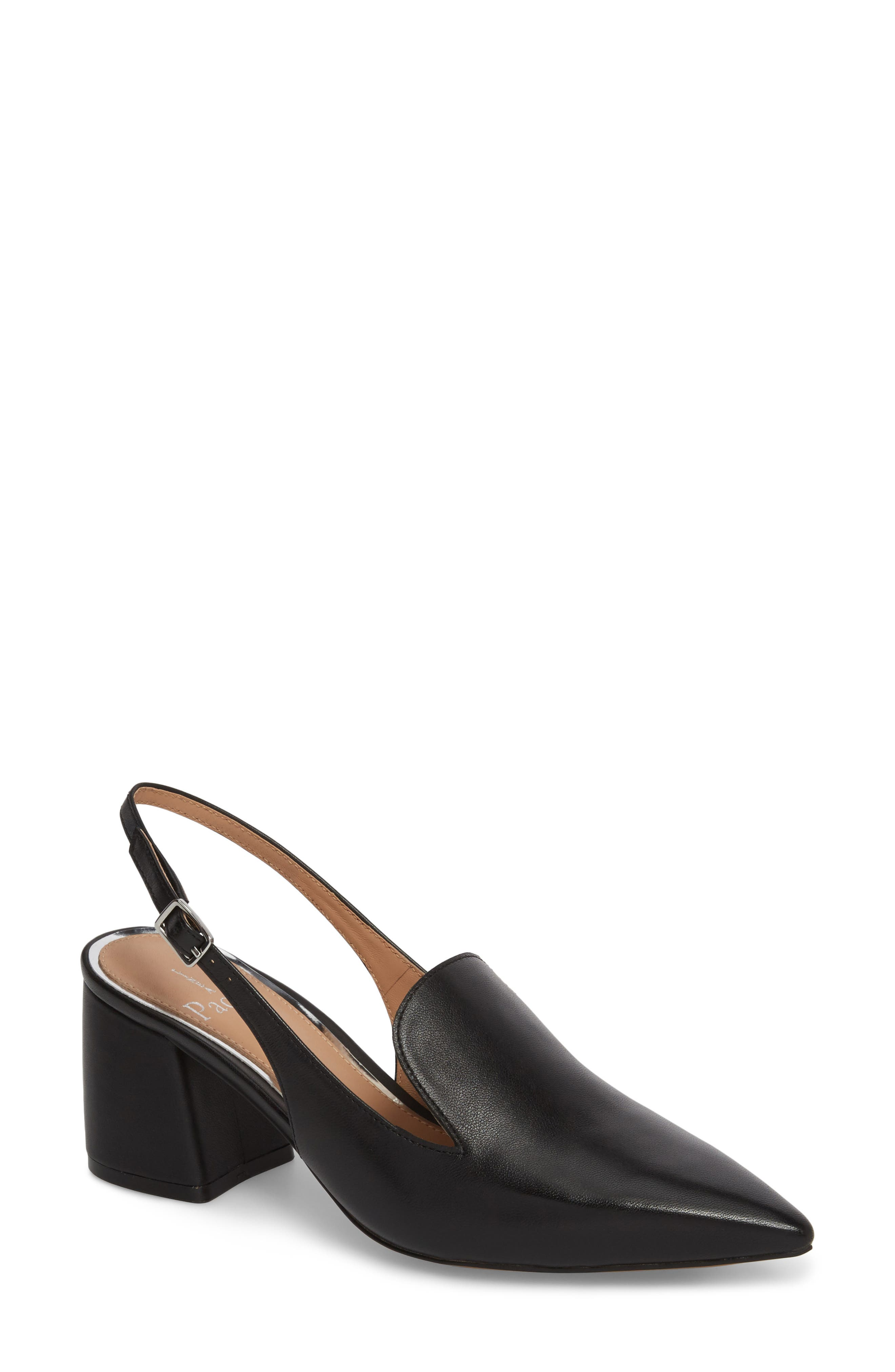 Carly Slingback Pump,                             Main thumbnail 1, color,                             BLACK LEATHER