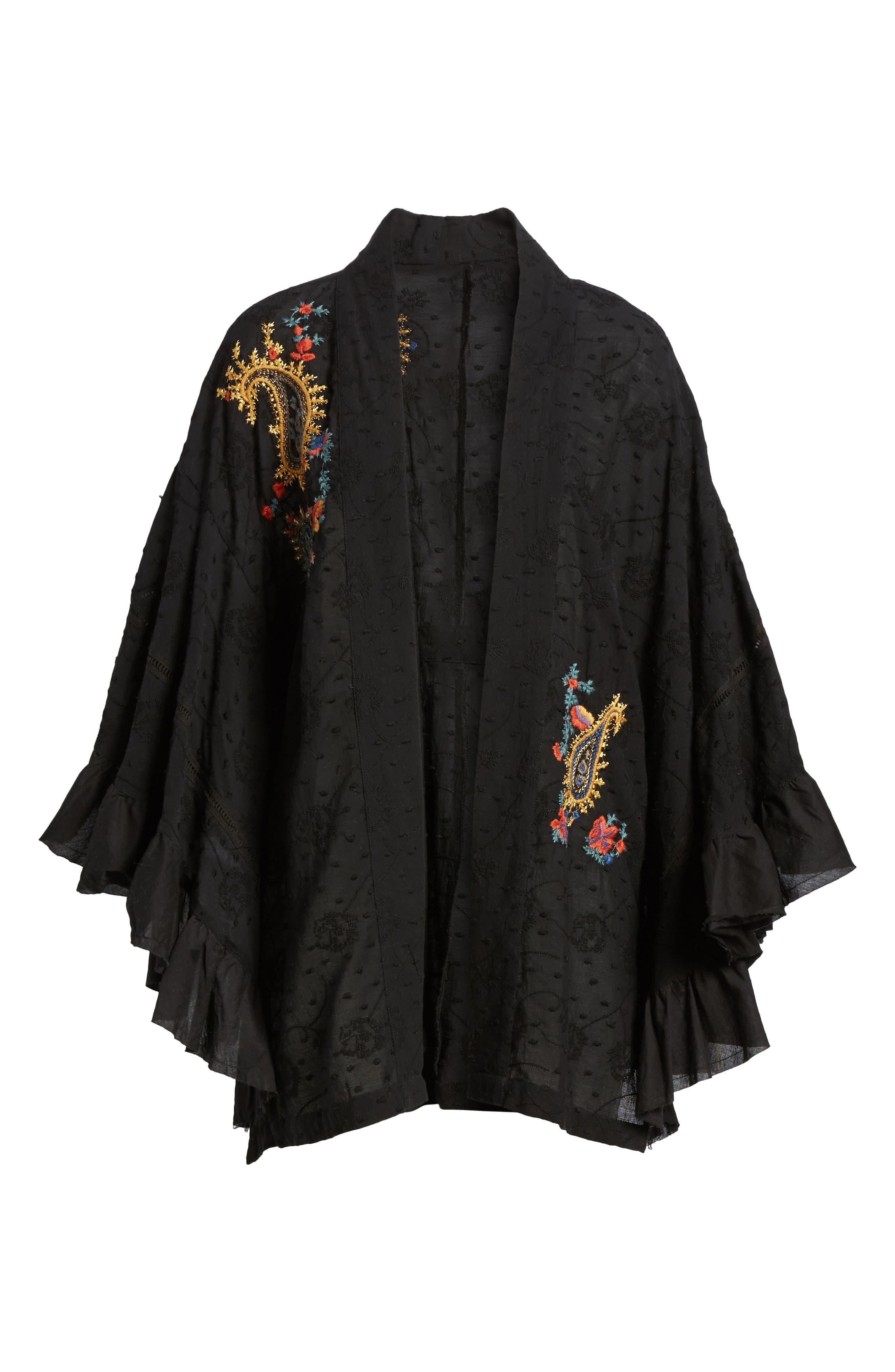 Dottie West Kimono,                             Alternate thumbnail 6, color,                             BLACK