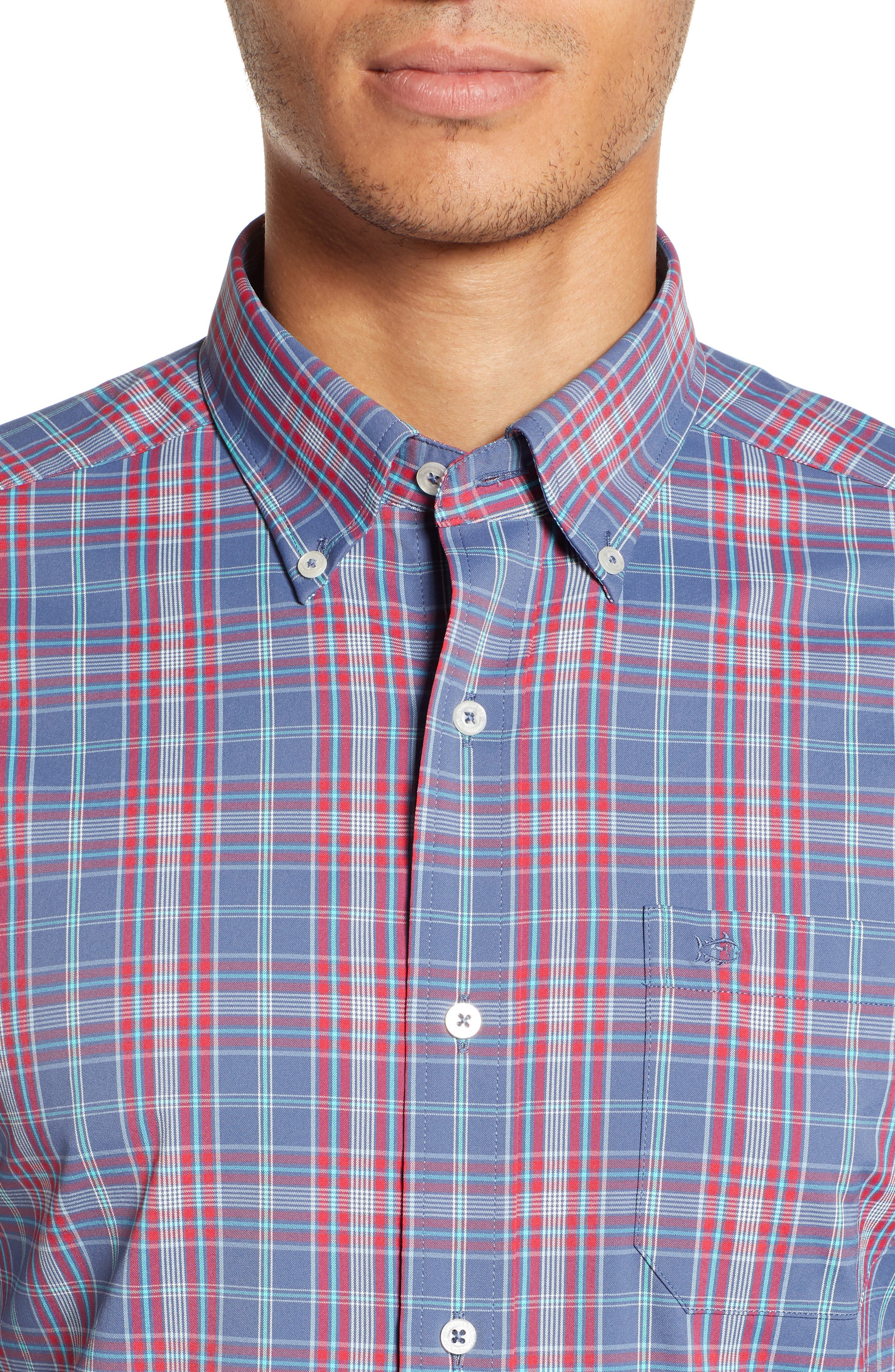 Lodge Intercoastal Regular Fit Plaid Performance Sport Shirt,                             Alternate thumbnail 2, color,                             LIGHT INDIGO