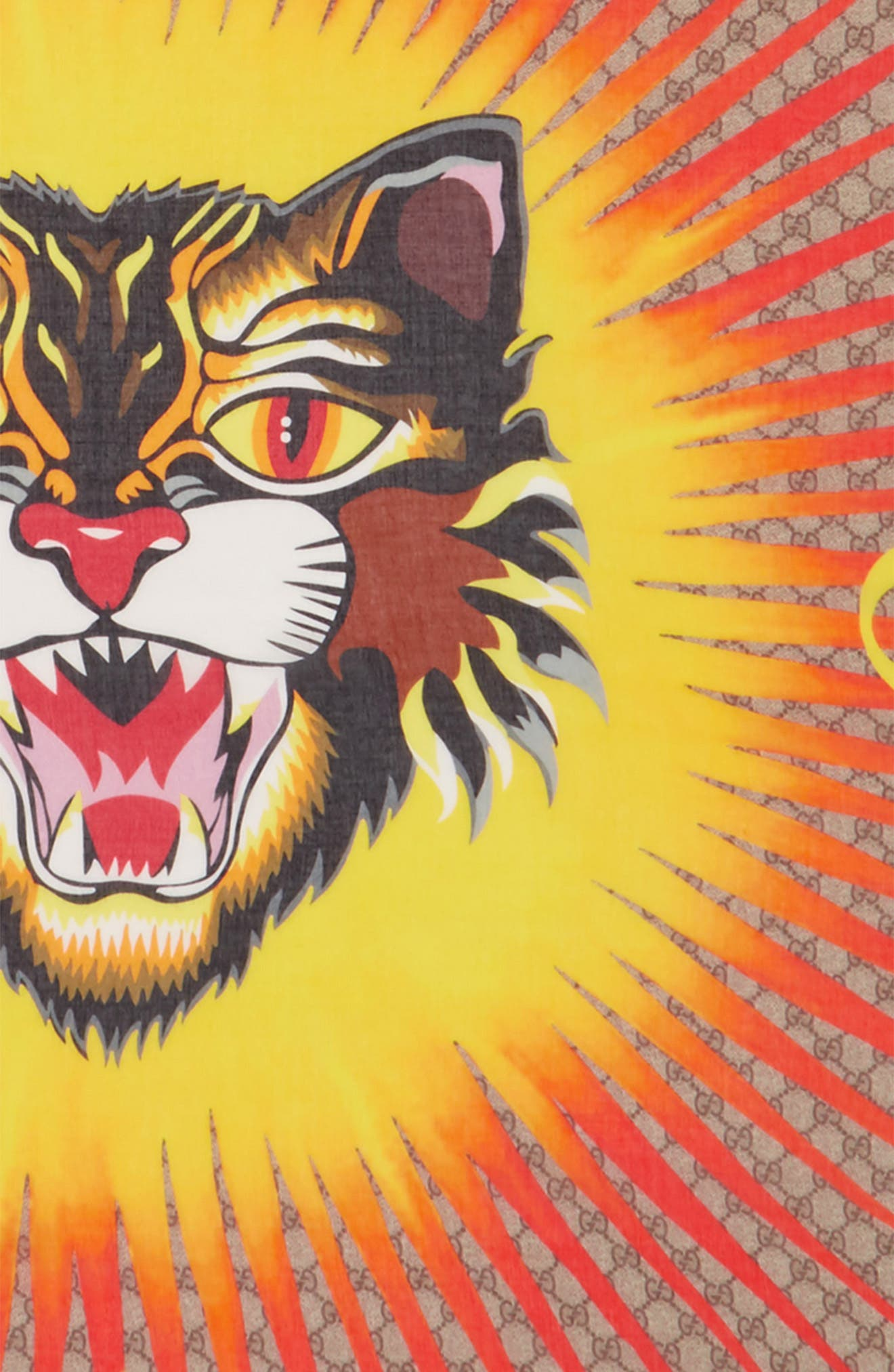 Sun Angry Cat Print Modal & Silk Scarf,                             Alternate thumbnail 3, color,                             250