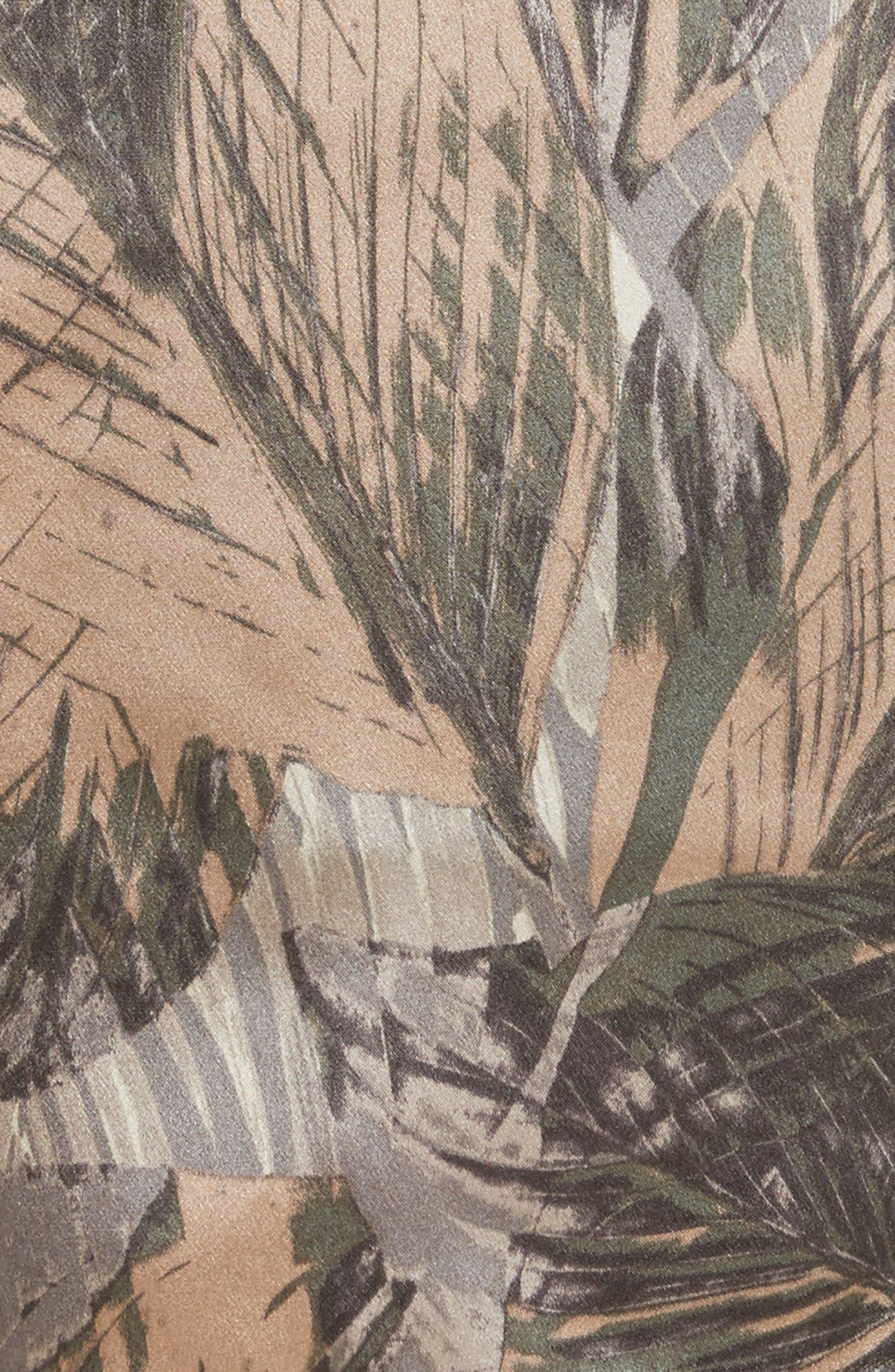Alex Palm Print Silk Paperbag Shorts,                             Alternate thumbnail 5, color,