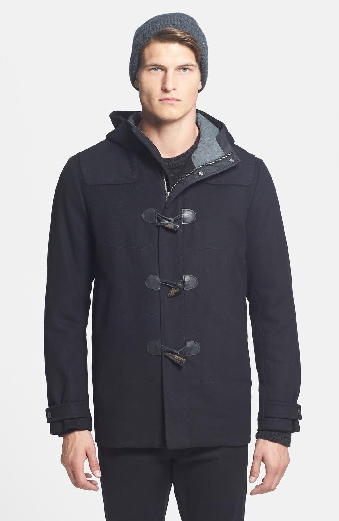 'City' Wool Blend Hooded Toggle Coat,                             Main thumbnail 1, color,                             001