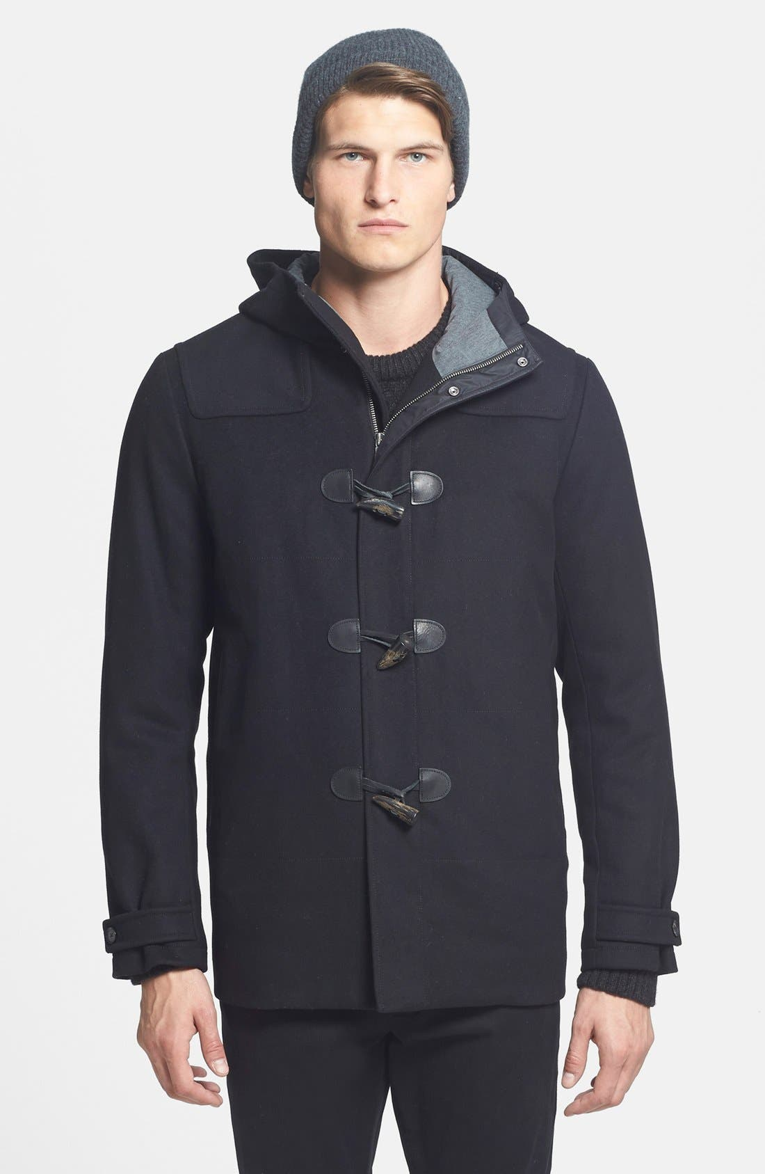 'City' Wool Blend Hooded Toggle Coat, Main, color, 001