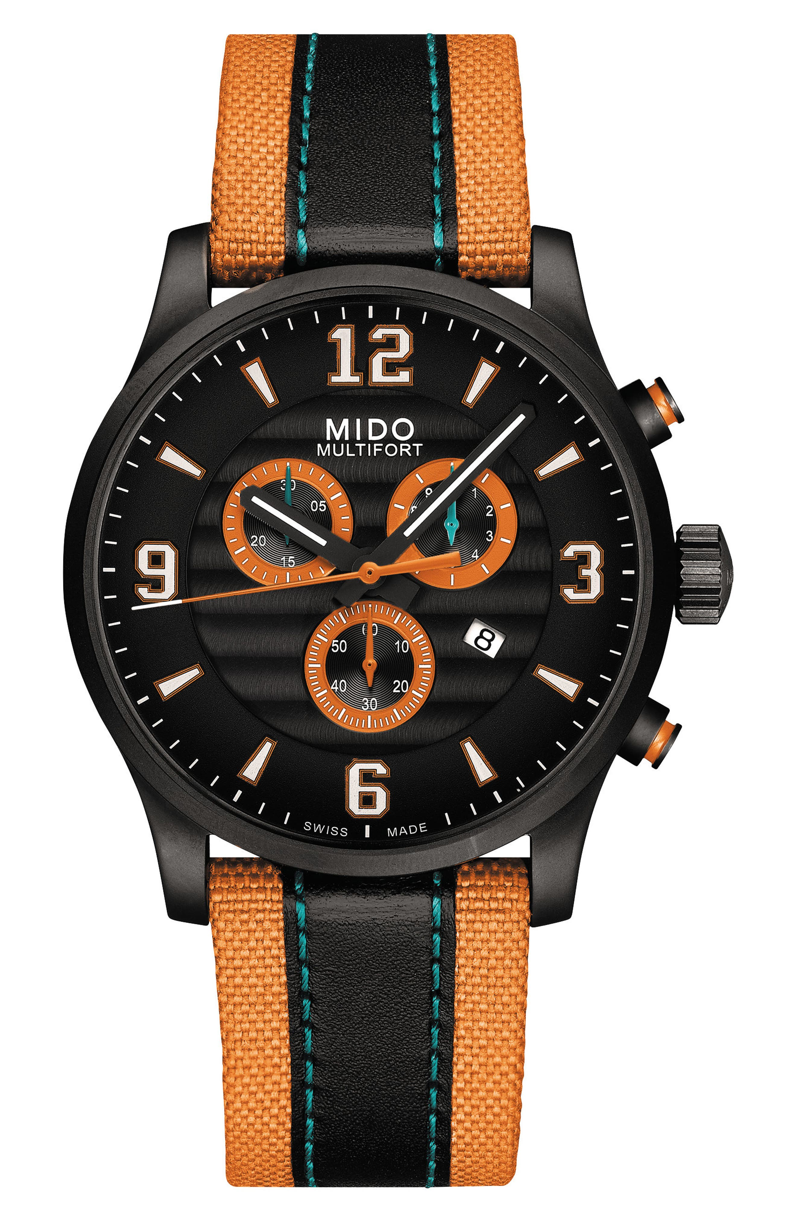 Multifort University of Miami Chronograph Nylon Strap Watch, 42mm,                         Main,                         color, ORANGE/ BLACK