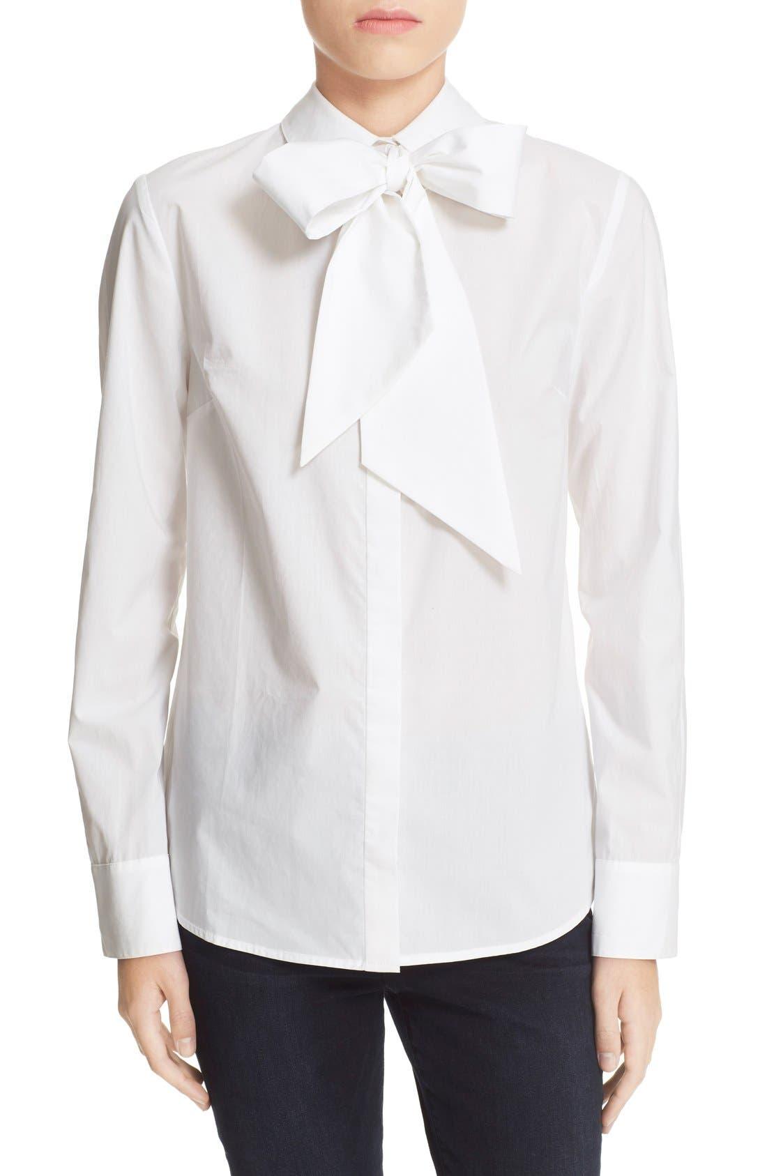 'Le Bowtie' Removable Tie Cotton Poplin Blouse,                         Main,                         color, 100