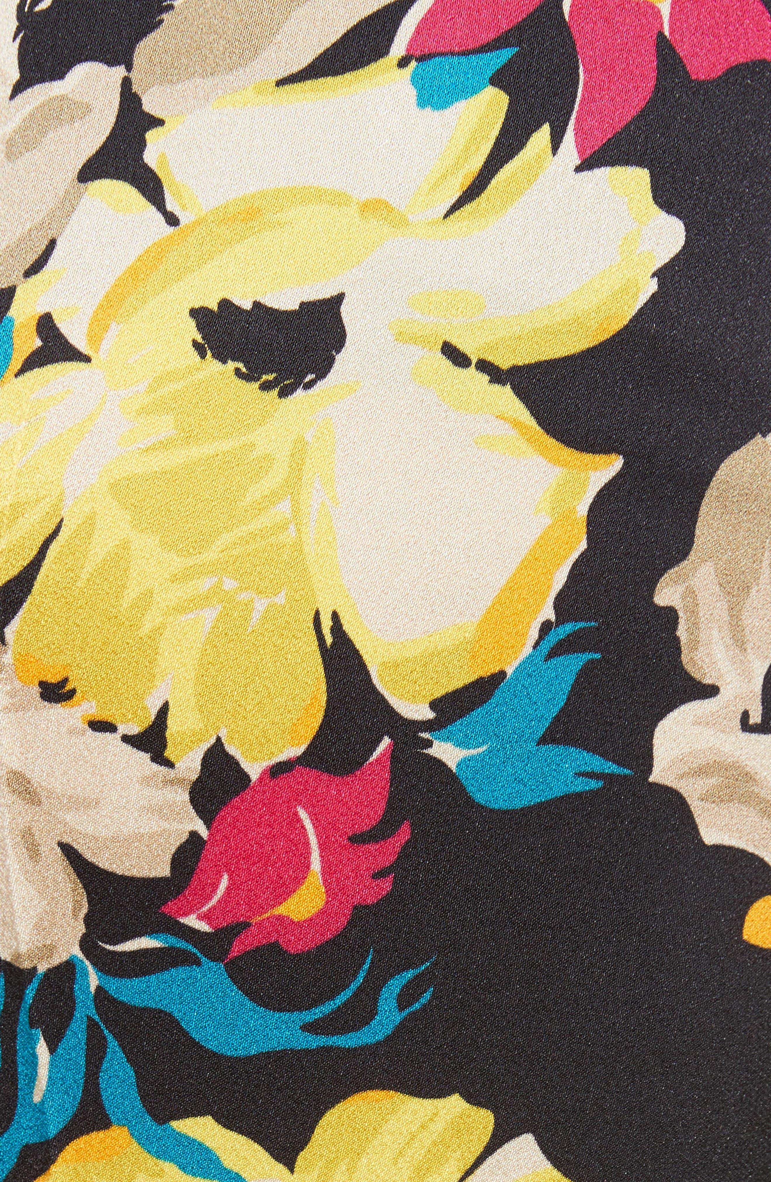 Floral Print Wide Leg Pants,                             Alternate thumbnail 5, color,                             001