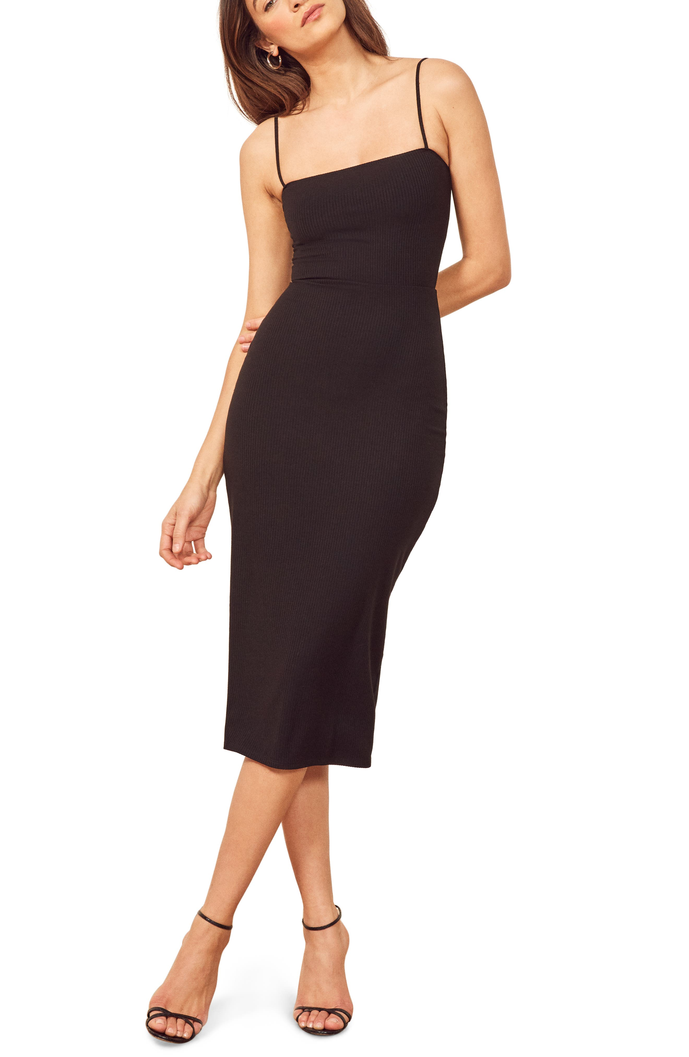 REFORMATION,                             Haley Midi Dress,                             Main thumbnail 1, color,                             BLACK