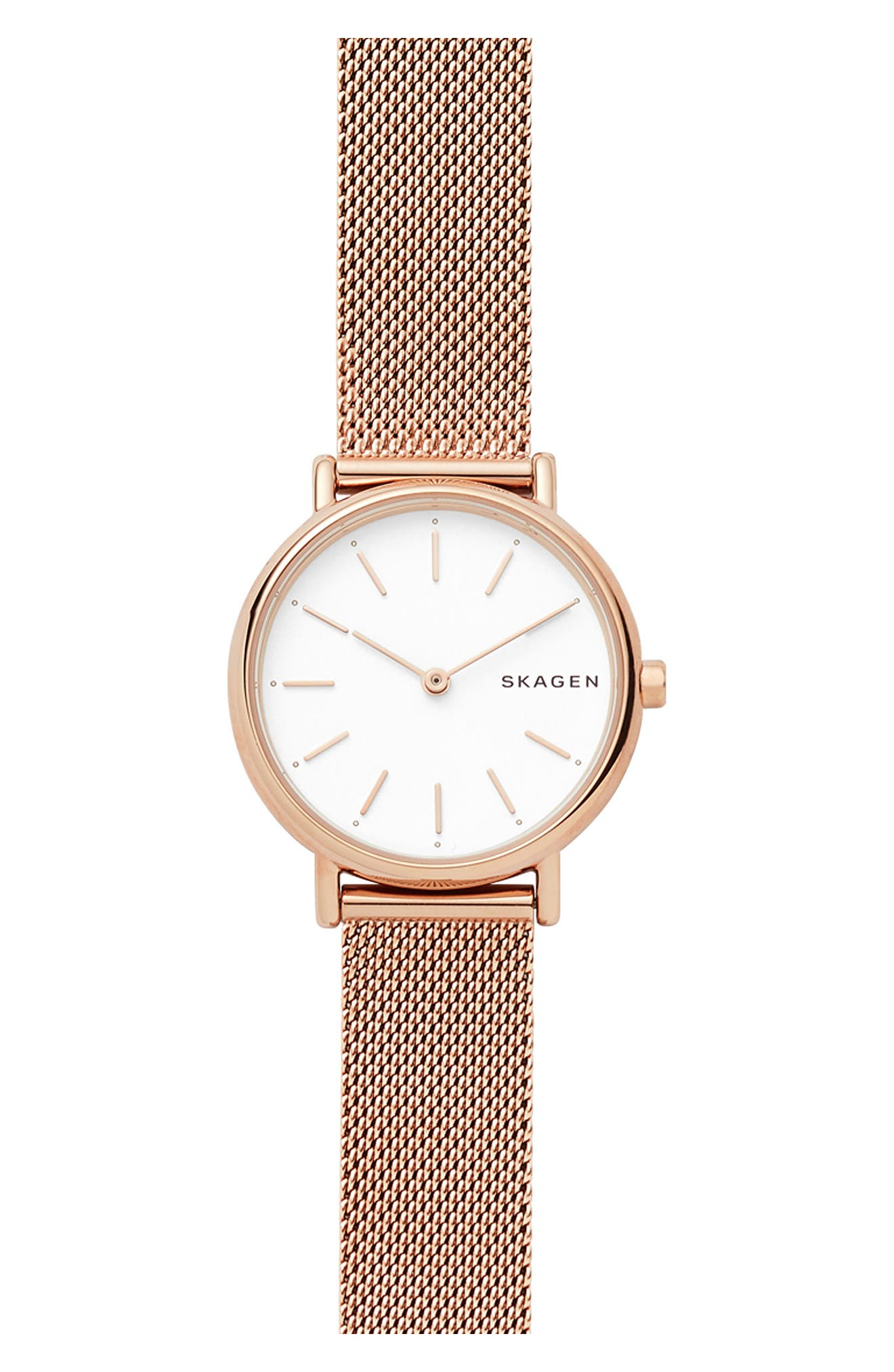 Signatur Slim Mesh Strap Watch, 30mm,                         Main,                         color, ROSE GOLD/ WHITE/ ROSE GOLD