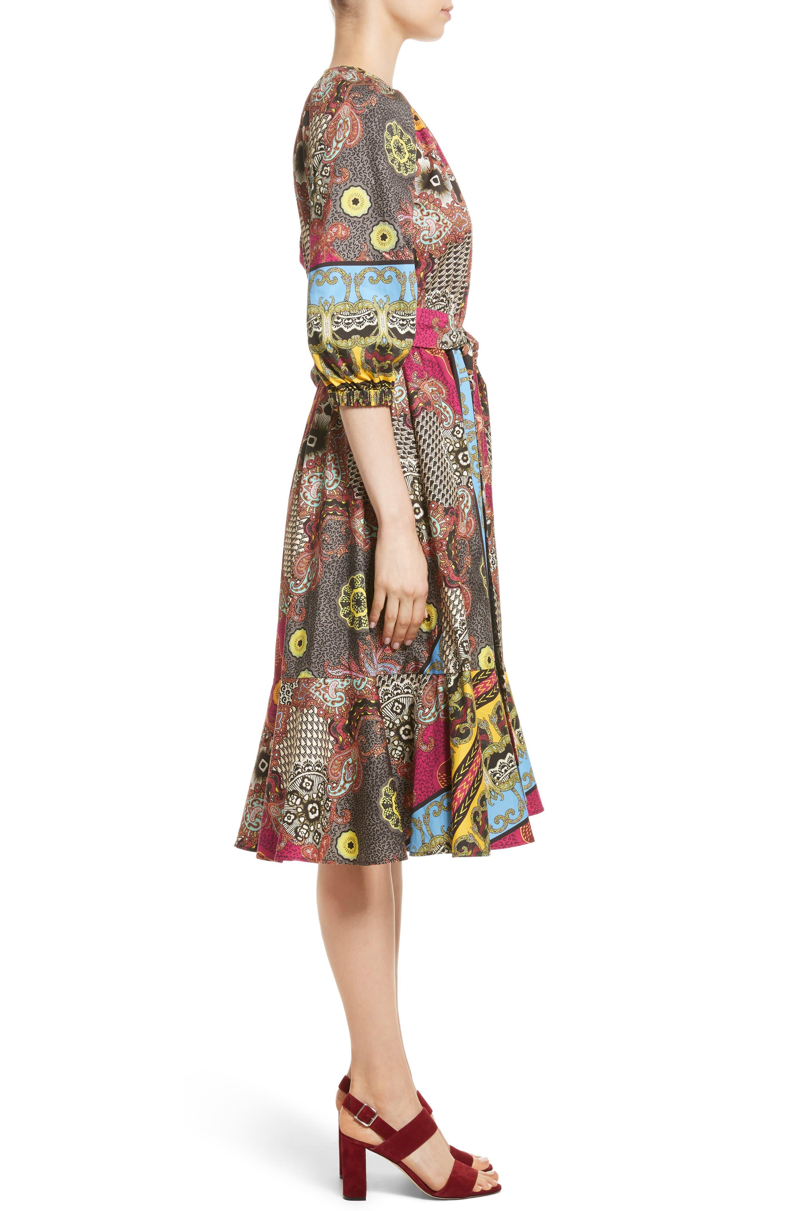 Jungle Paisley Print Cotton Dress,                             Alternate thumbnail 3, color,                             002