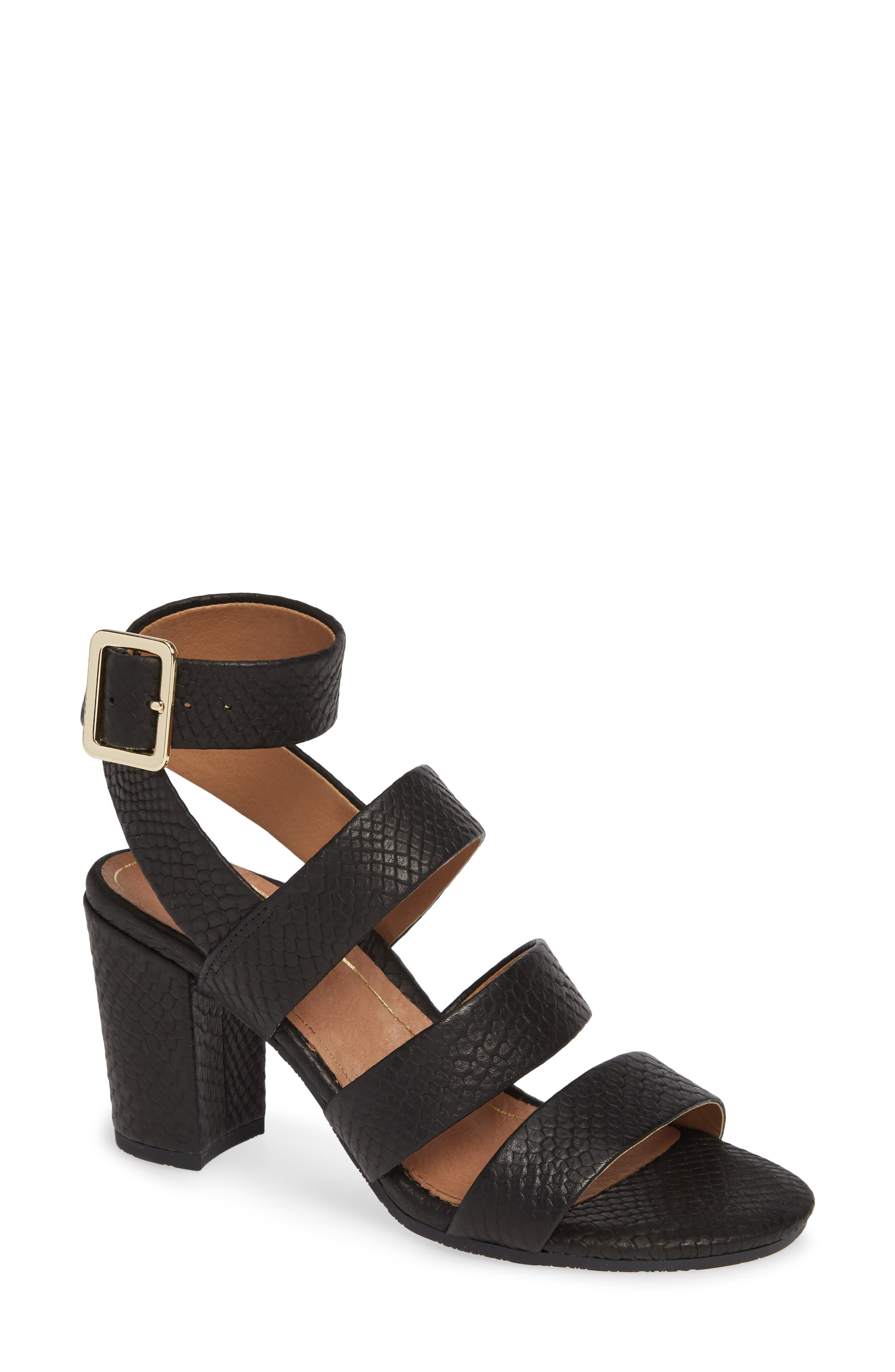 Blaire Block Heel Sandal,                             Main thumbnail 1, color,                             BLACK SNAKE EMBOSSED LEATHER
