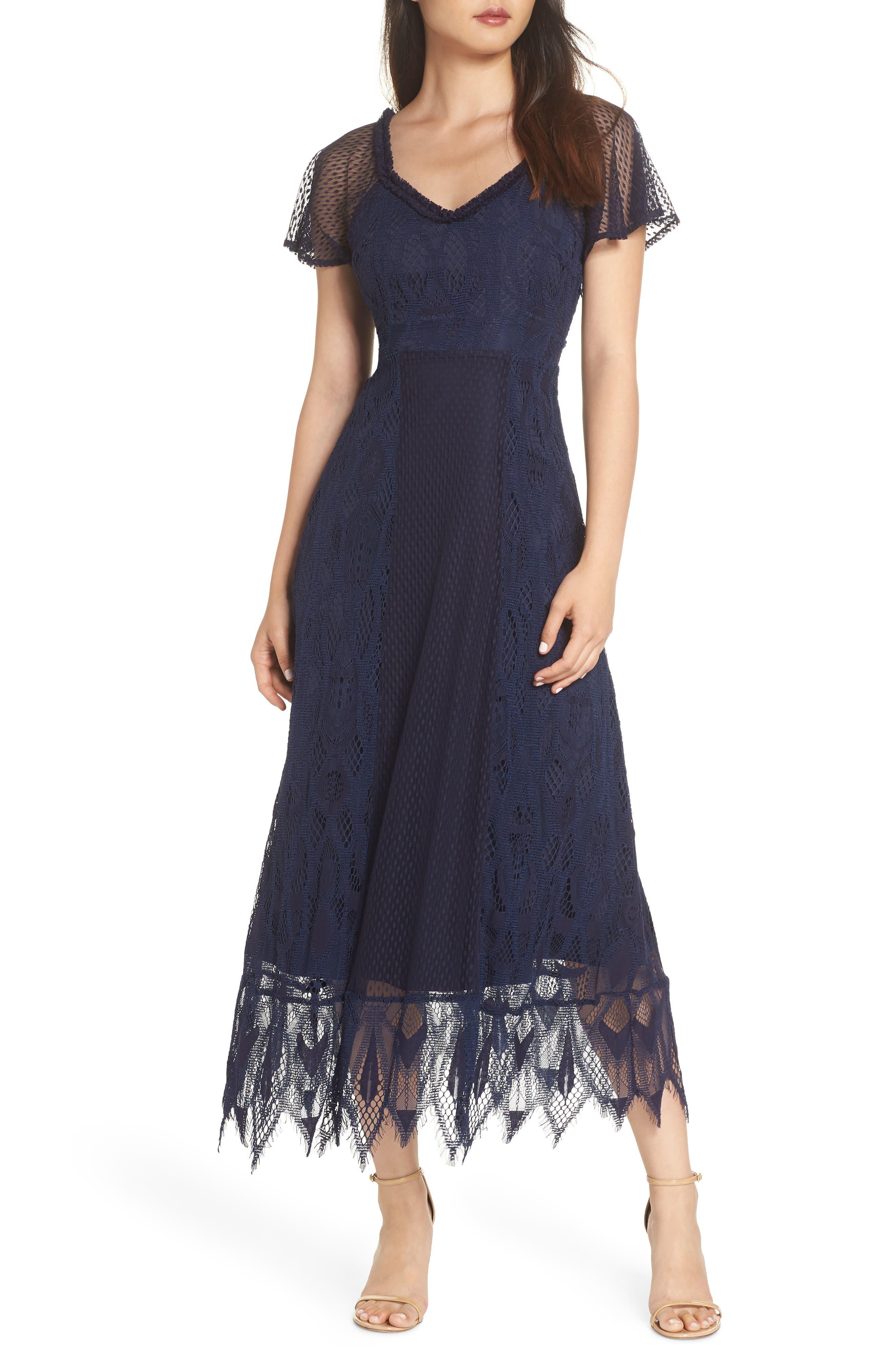 Gloria Lace Midi Dress,                         Main,                         color, 410
