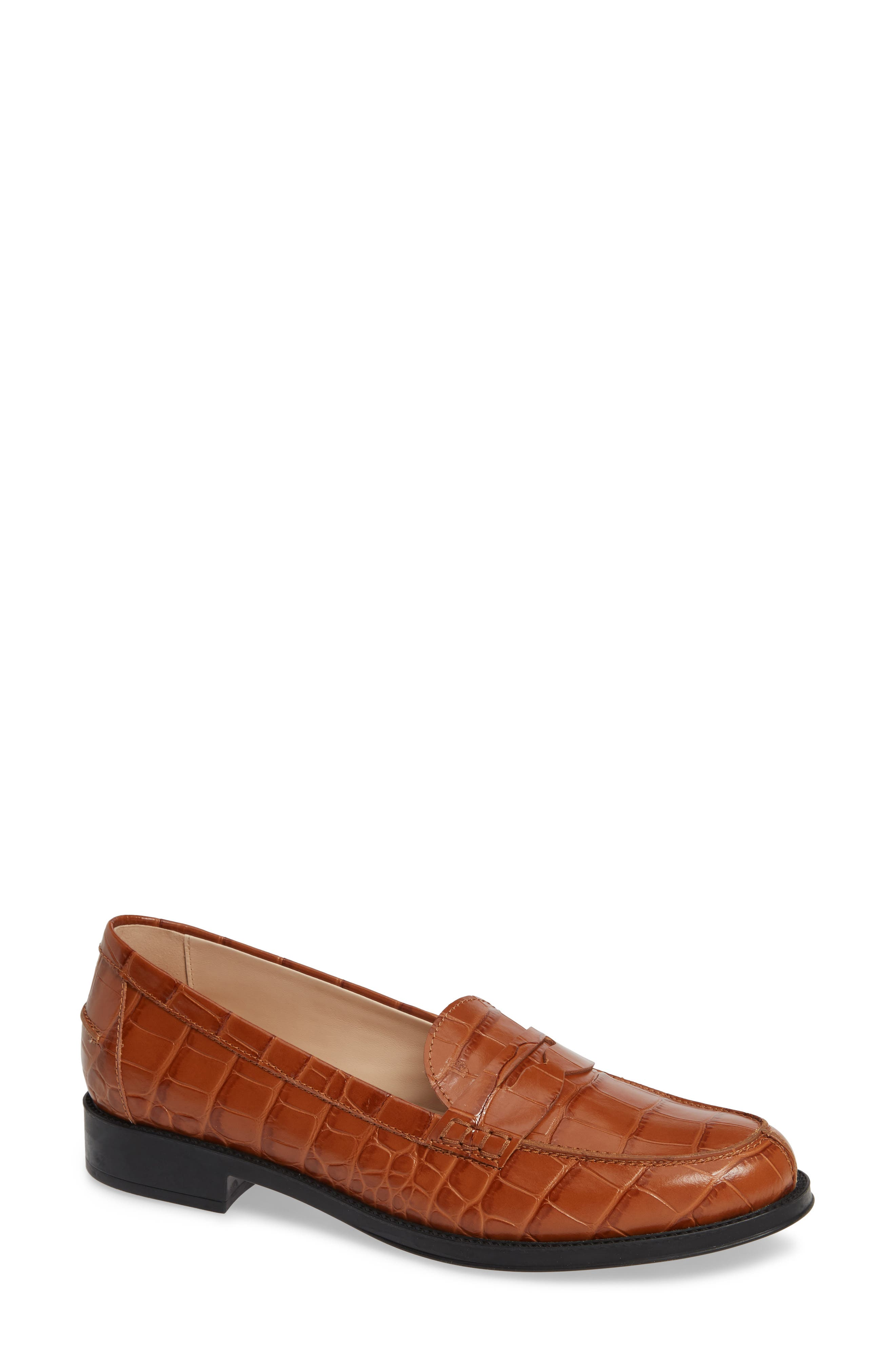 Penny Loafer,                             Main thumbnail 1, color,                             CARAMEL CROC
