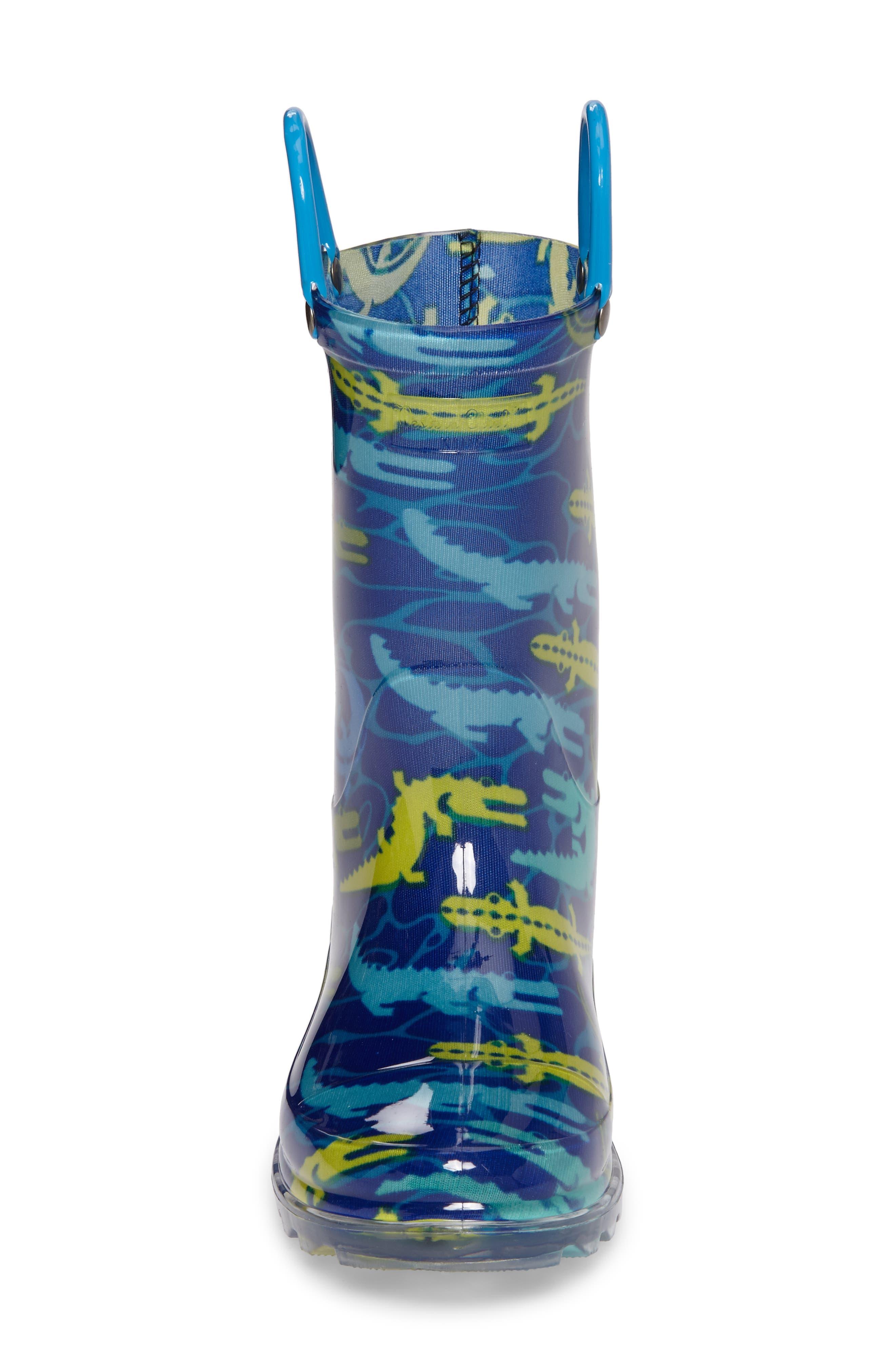Gators Galore Light-Up Rain Boot,                             Alternate thumbnail 4, color,                             421