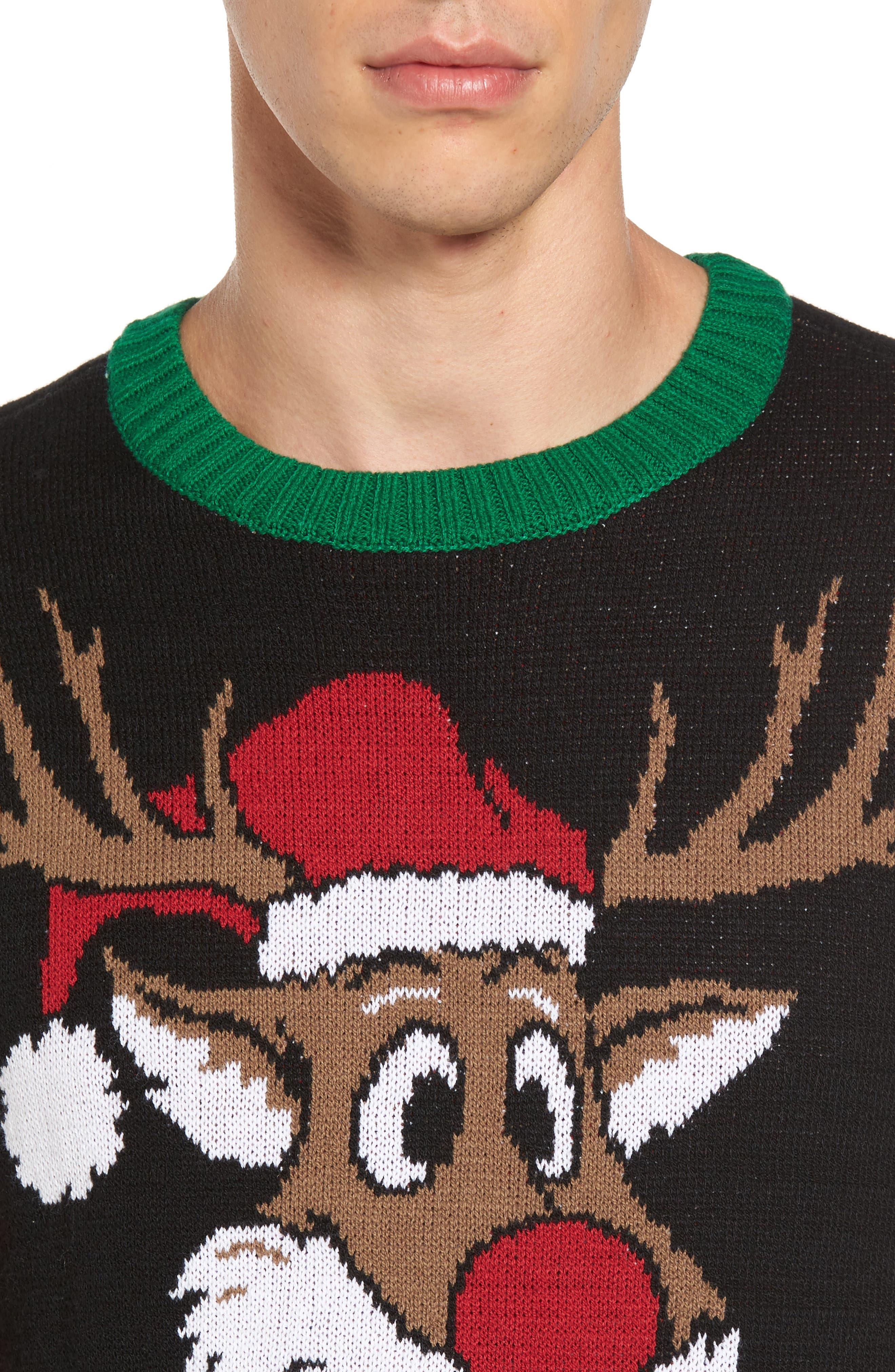 Reindeer Sweater,                             Alternate thumbnail 4, color,                             001