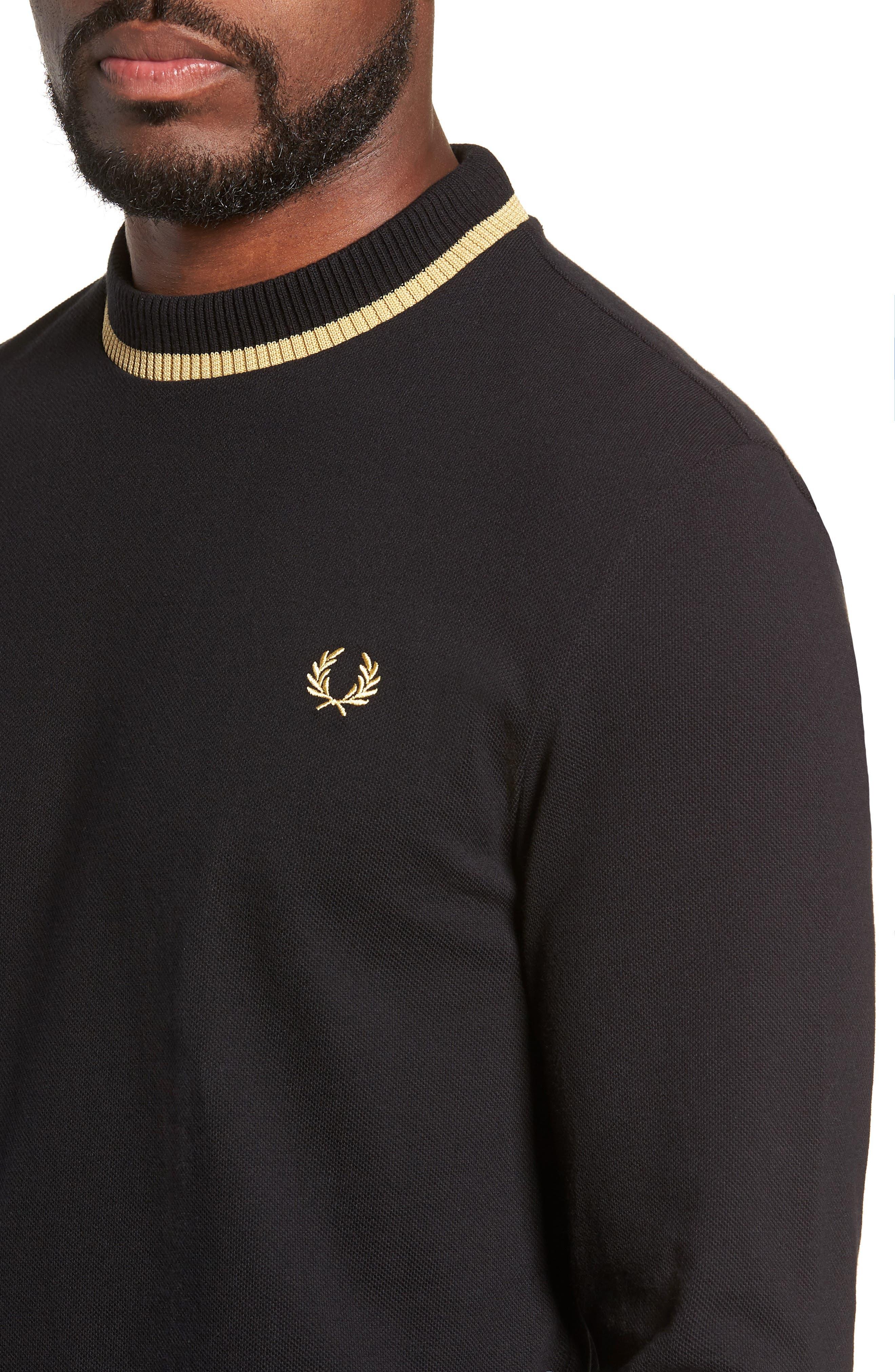 Long Sleeve Piqué T-Shirt,                             Alternate thumbnail 4, color,                             BLACK / CHAMPAGNE