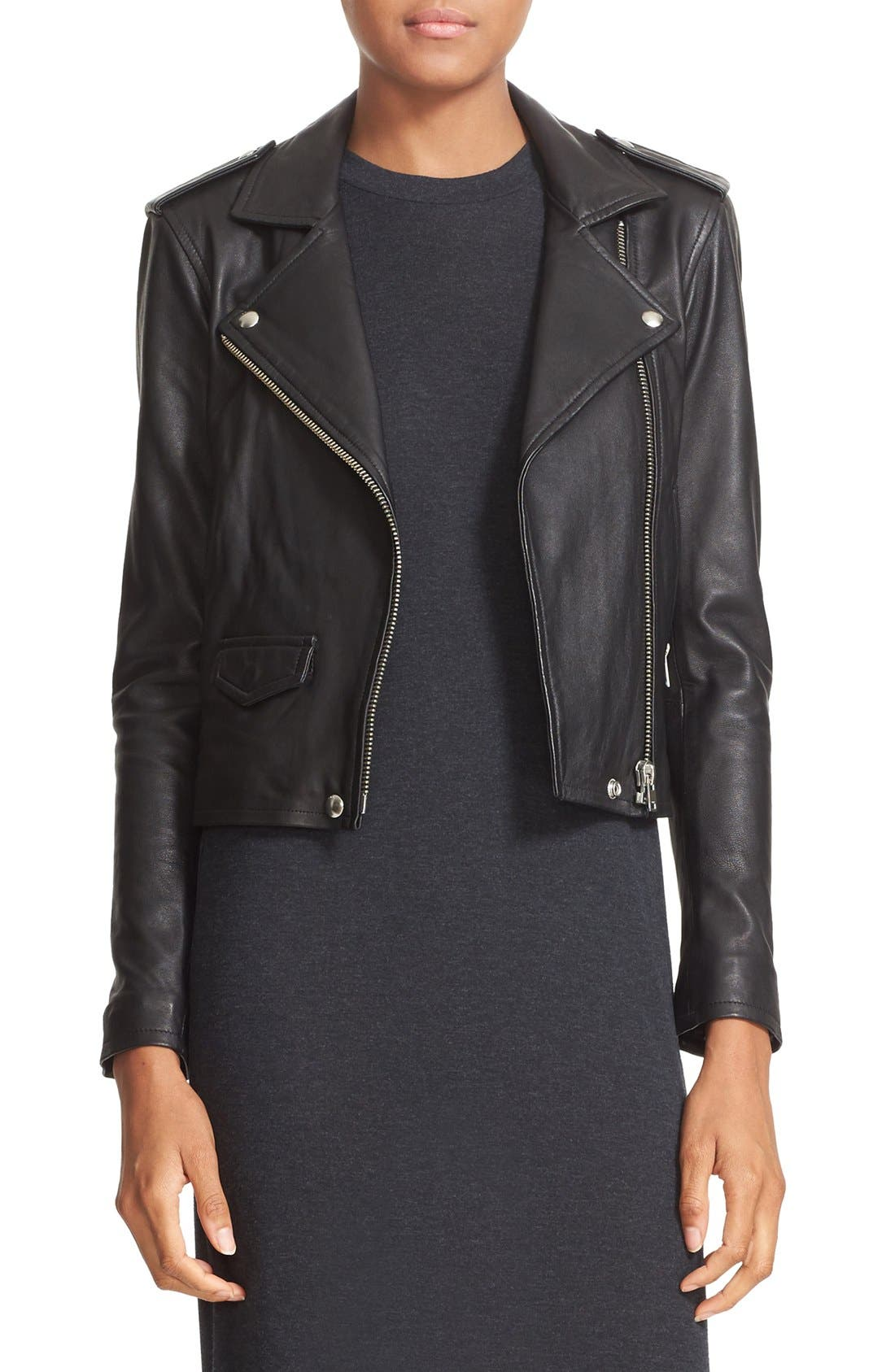 'Ashville' Lambskin Leather Moto Jacket,                         Main,                         color, BLACK
