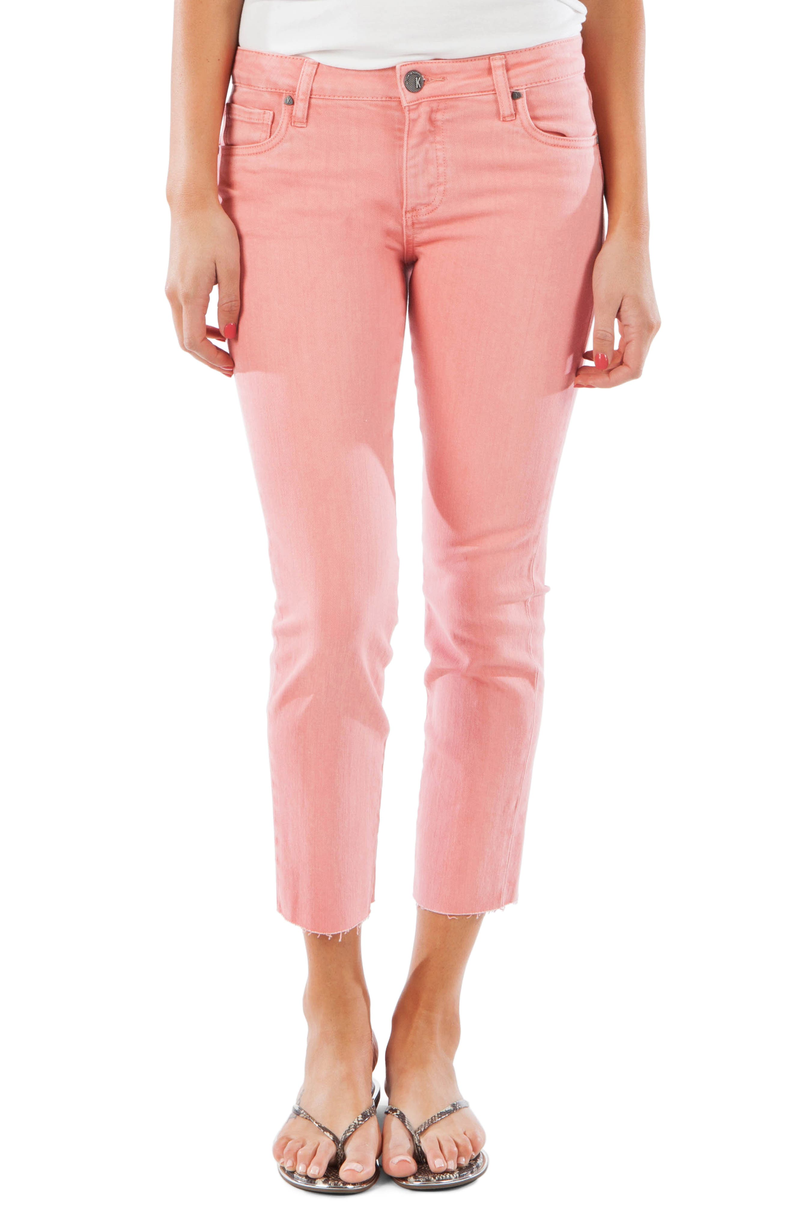 Kut From The Kloth Reese Raw Hem Ankle Straight Leg Jeans, Coral